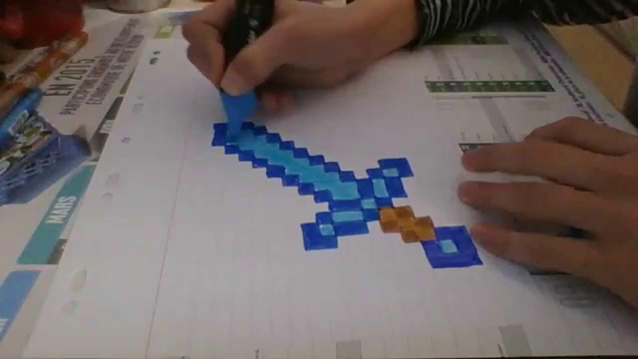 Dessin Minecraft - Episode 1 - L'epee En Diamant à Coloriage D Épée