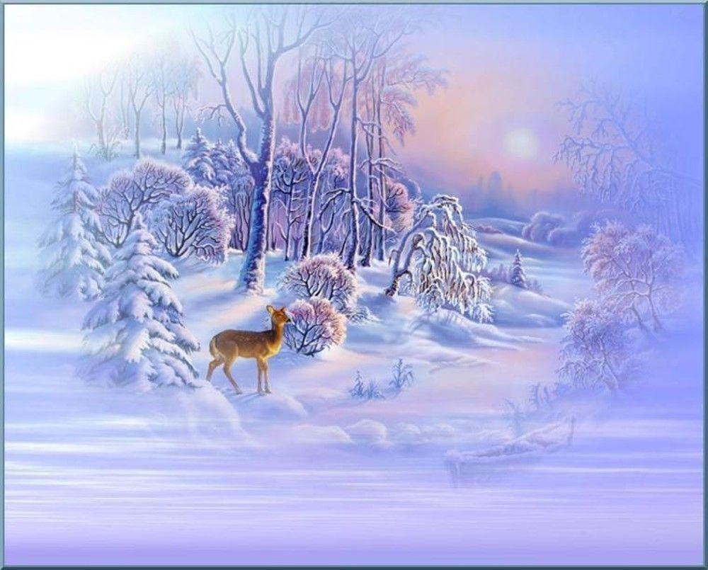 Dessin Paysage D'hiver, Fond Créa / Winter Landscape à Dessin De Paysage D Hiver