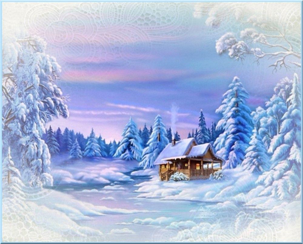 Dessin Paysage D'hiver, Fond Créa . Winter Landscape à Dessin De Paysage D Hiver