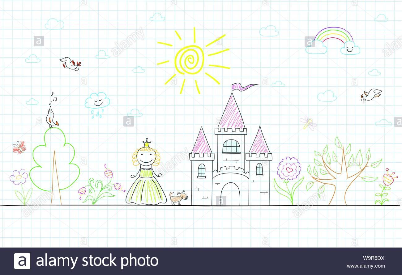 Dessin Vectoriel Avec Happy Petite Princesse, Château, Chien à Chateau De Princesse Dessin