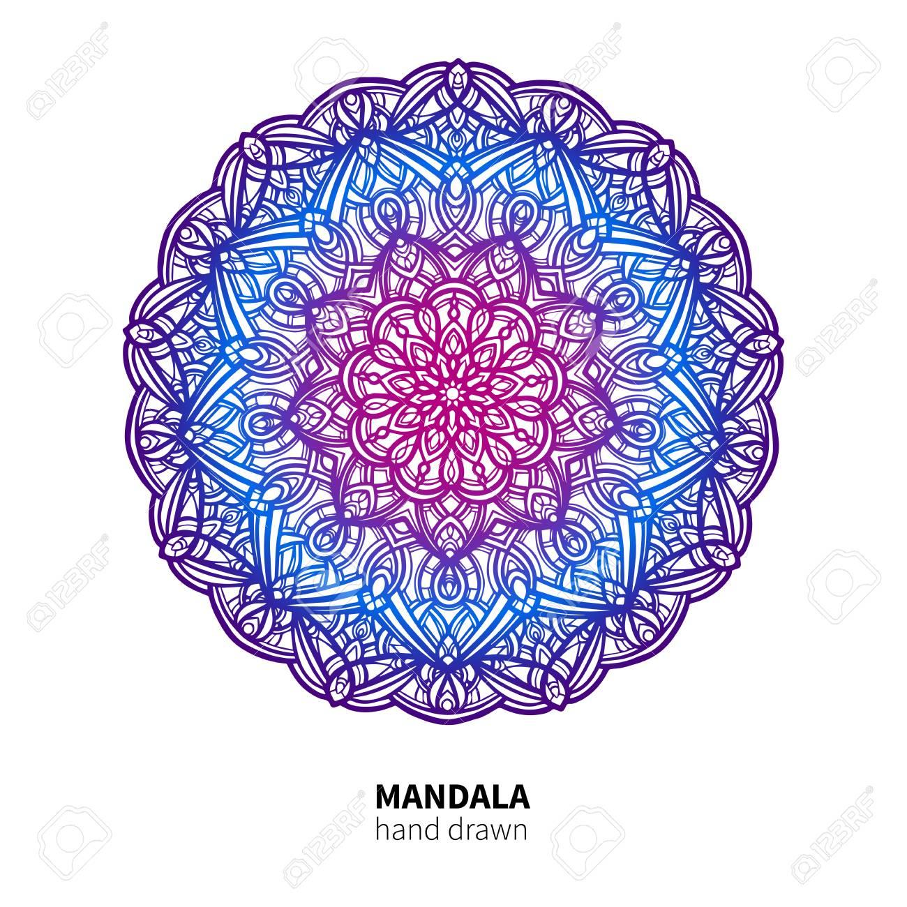 Dessin Vectoriel De Fleur De Mandala. Élément Décoratif Coloré Ethnique. destiné Dessiner Un Mandala
