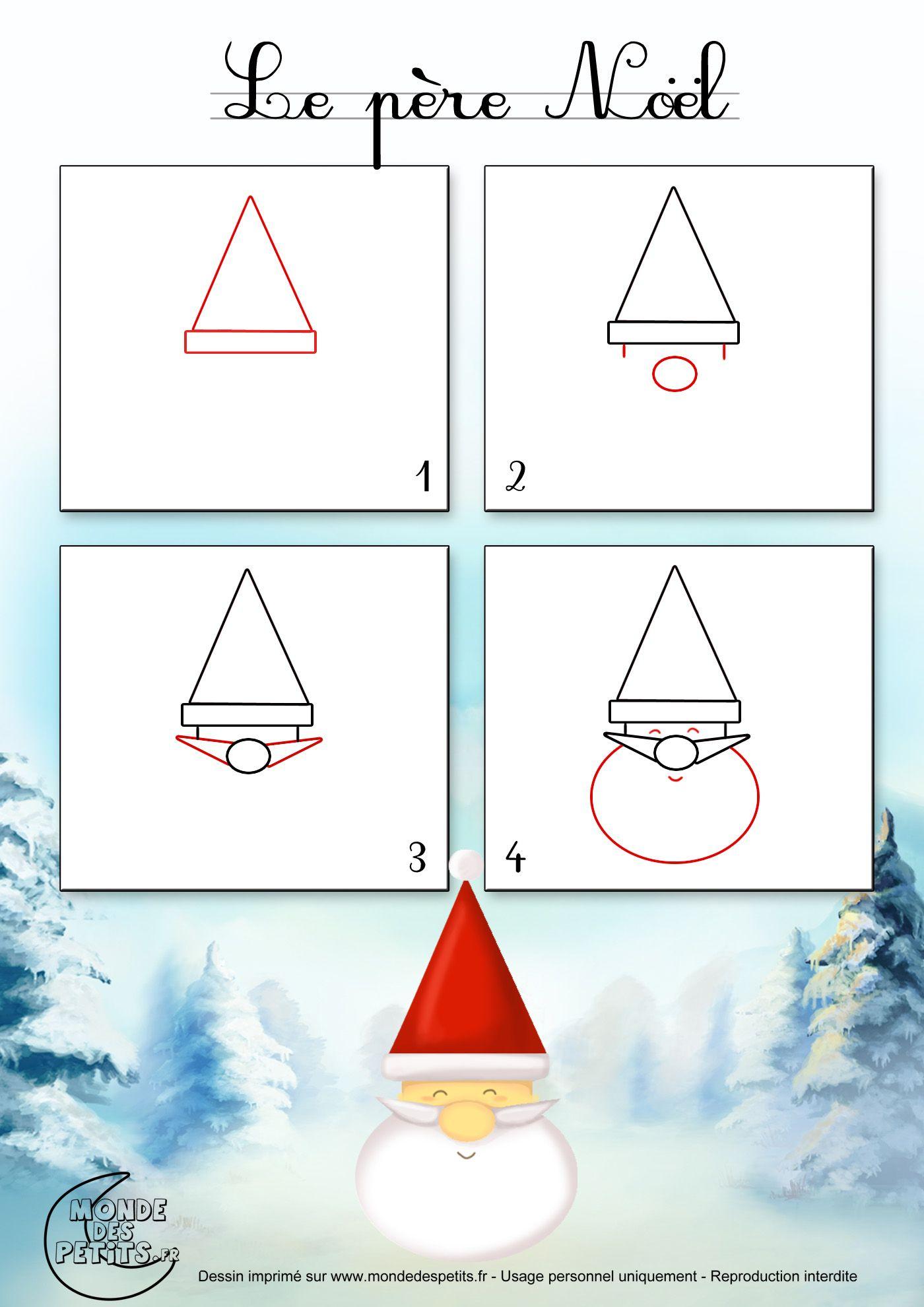 Dessin1_Comment Dessiner Le Visage Du Père Noël Facilement encequiconcerne Modèles De Dessins À Reproduire