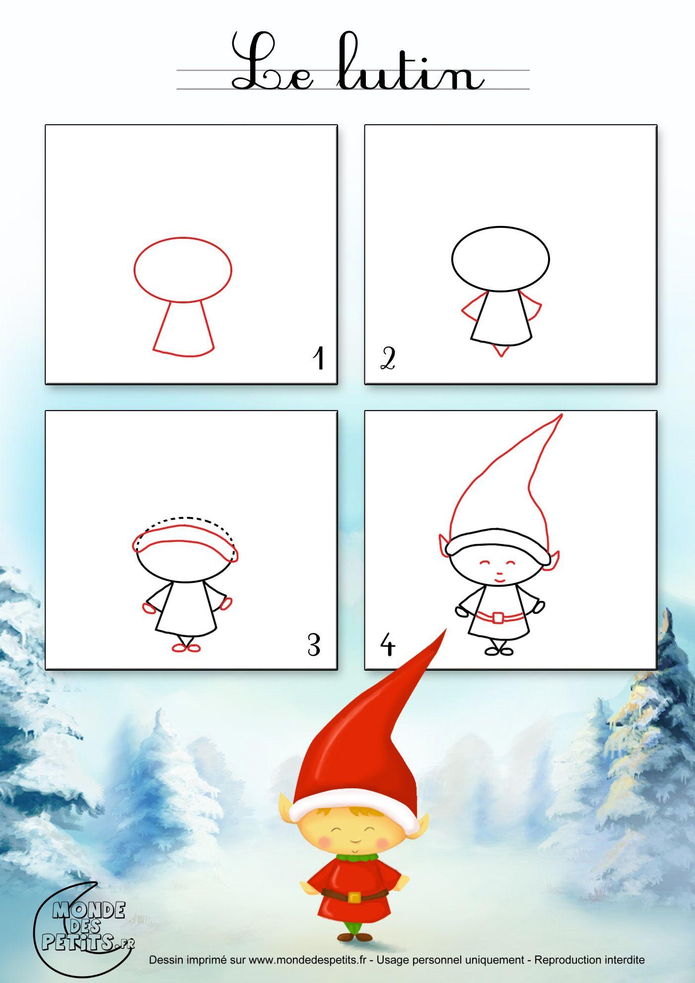 Dessin1_Comment Dessiner Un Lutin De Noël ? | Christmas destiné Modèles De Dessins À Reproduire