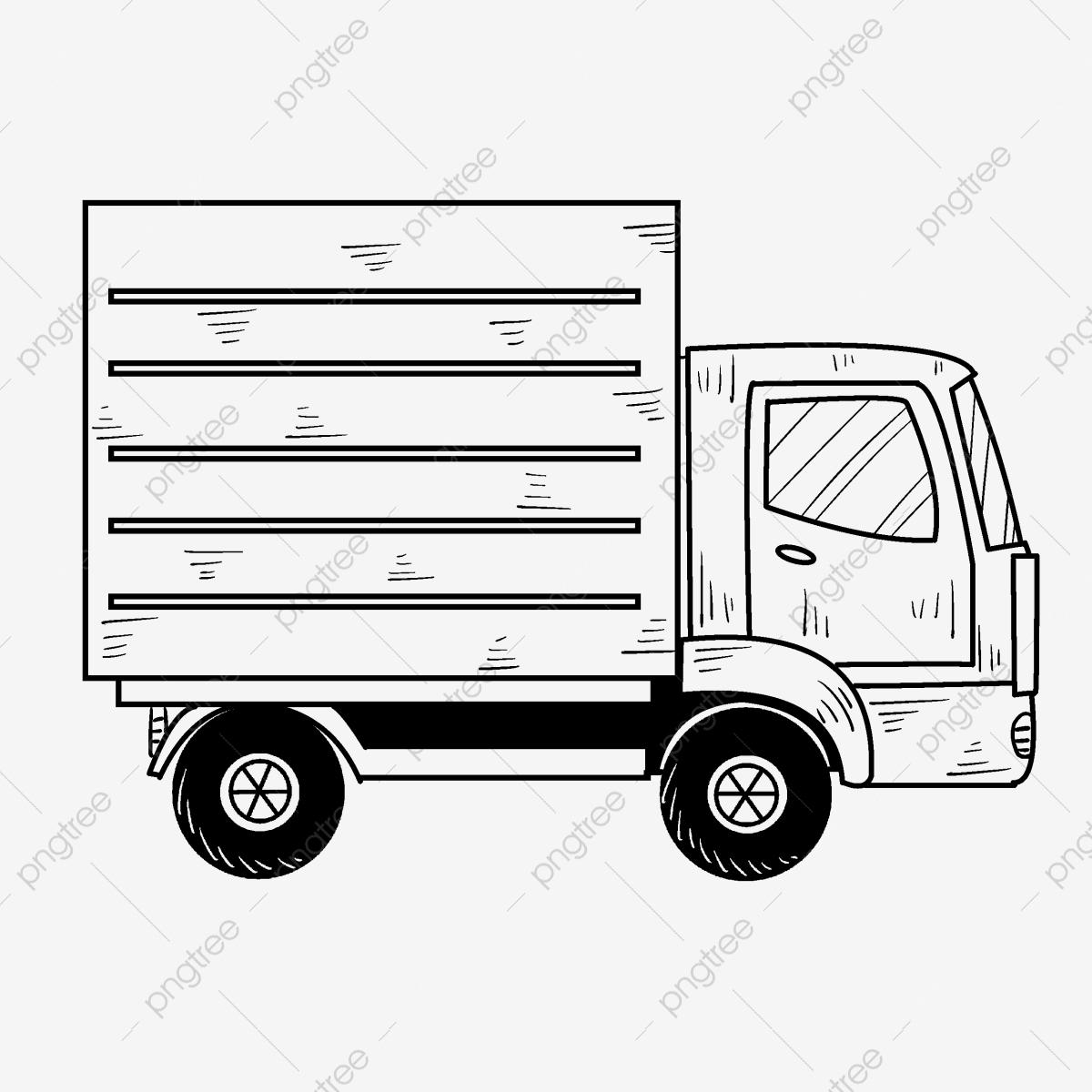 Dessiné À La Main Camion De Dessin Au Trait Dessin Animé concernant Dessin D Un Camion