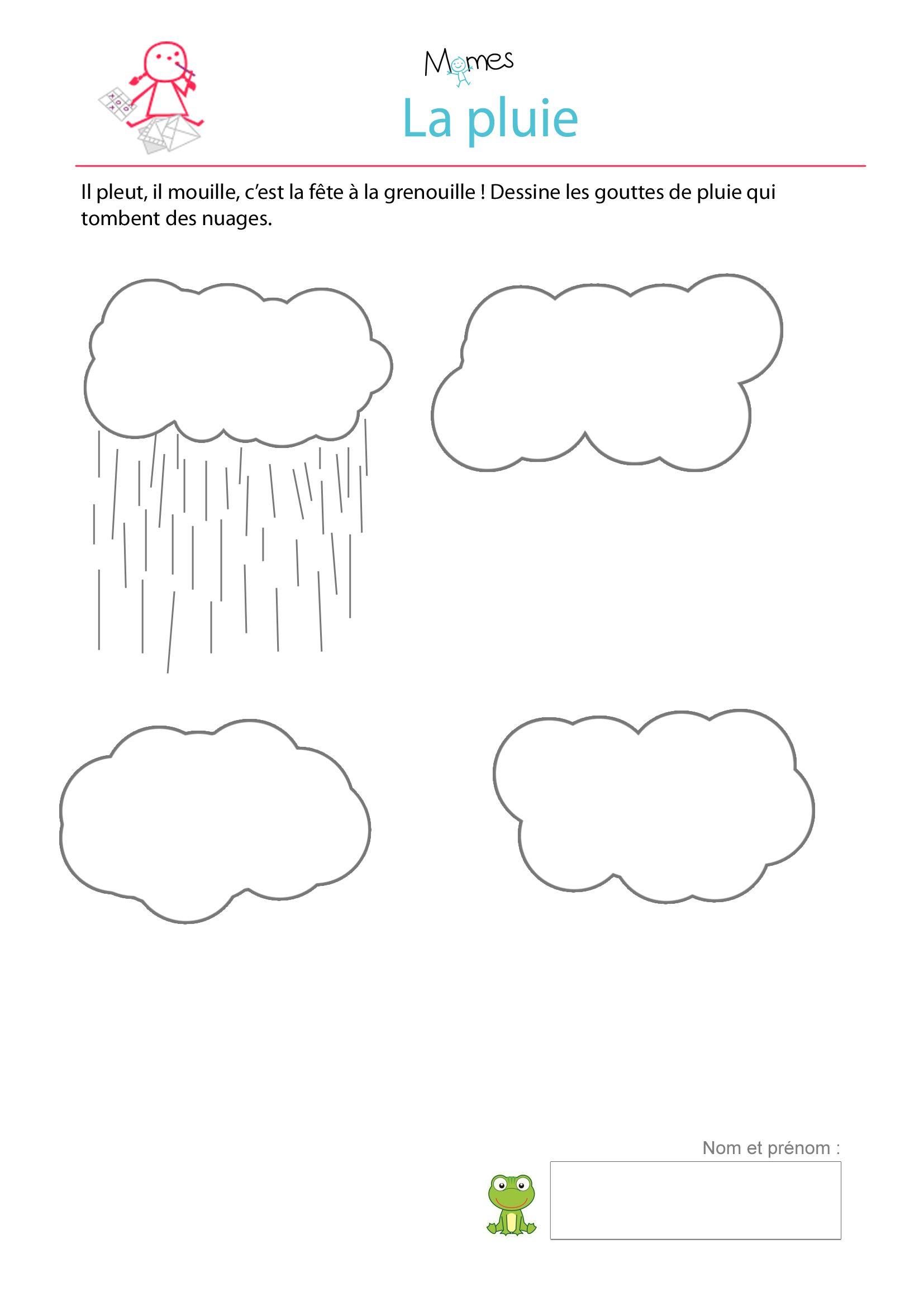 Dessine La Pluie - Exercice À Imprimer | Exercice Petite avec Graphisme Maternelle A Imprimer Gratuit