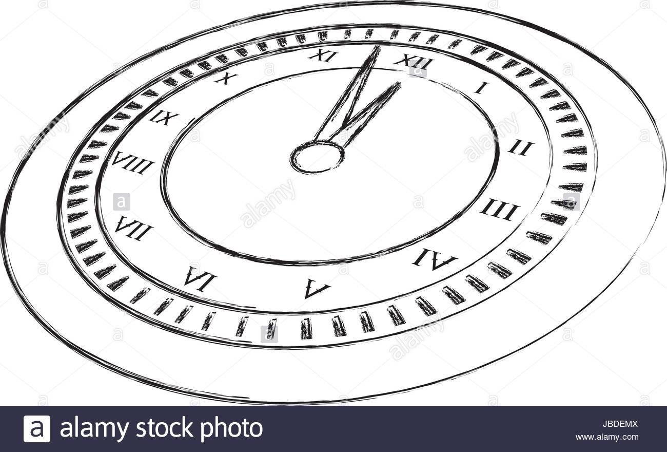 Dessiner Croquis Dessin D'horloge Vecteurs Et Illustration tout Dessin D Horloge