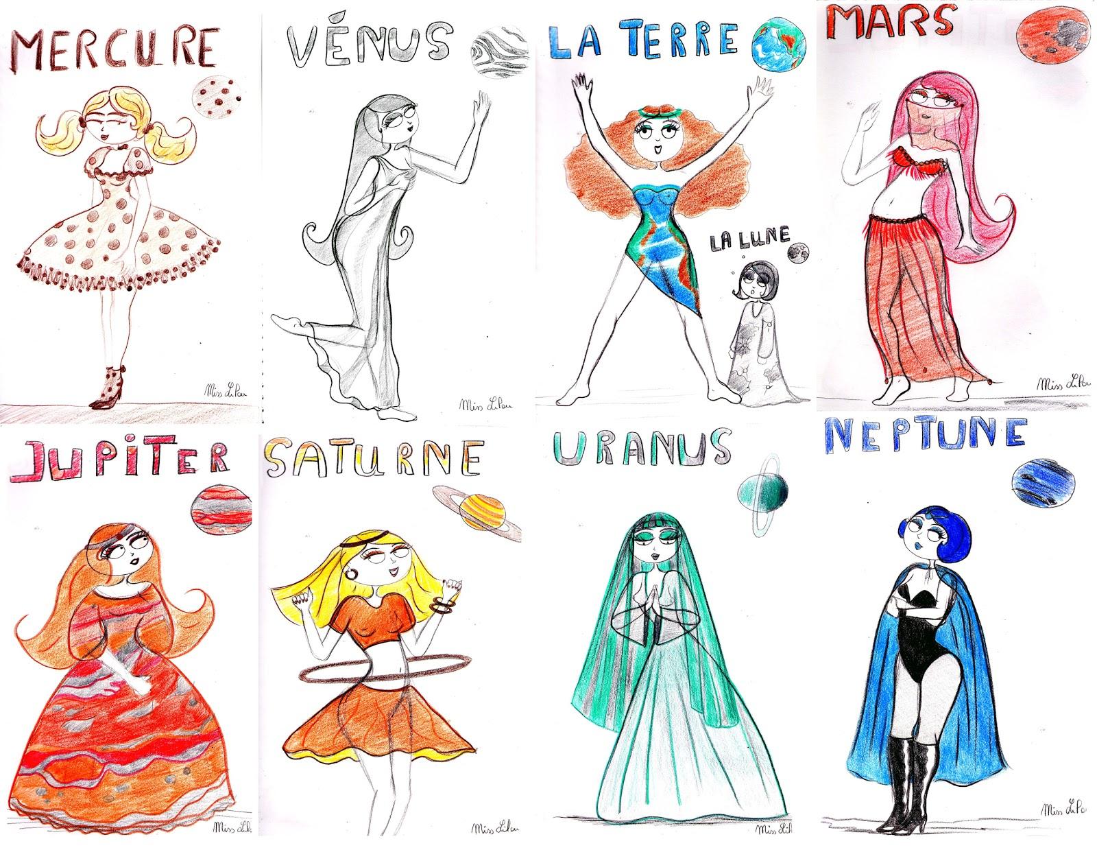 Dessins De Miss Lilou: Les Miss Lilouplanètes Du Système encequiconcerne Dessin Du Système Solaire
