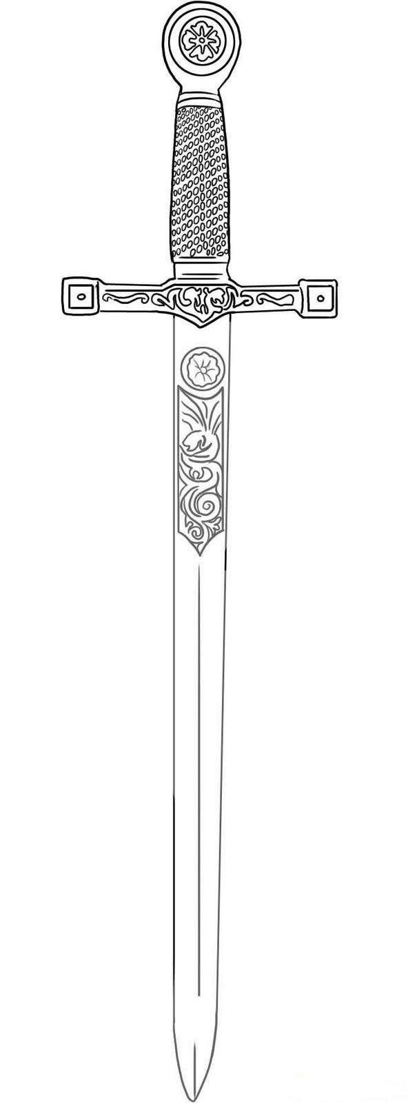 Dessins Gratuits À Colorier - Coloriage Excalibur À Imprimer pour Coloriage D Épée