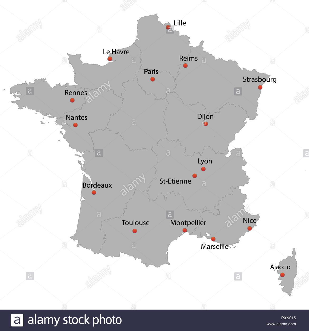 Detailed Map Of The France With Cities Stock Vector Art serapportantà Carte De La France Avec Ville