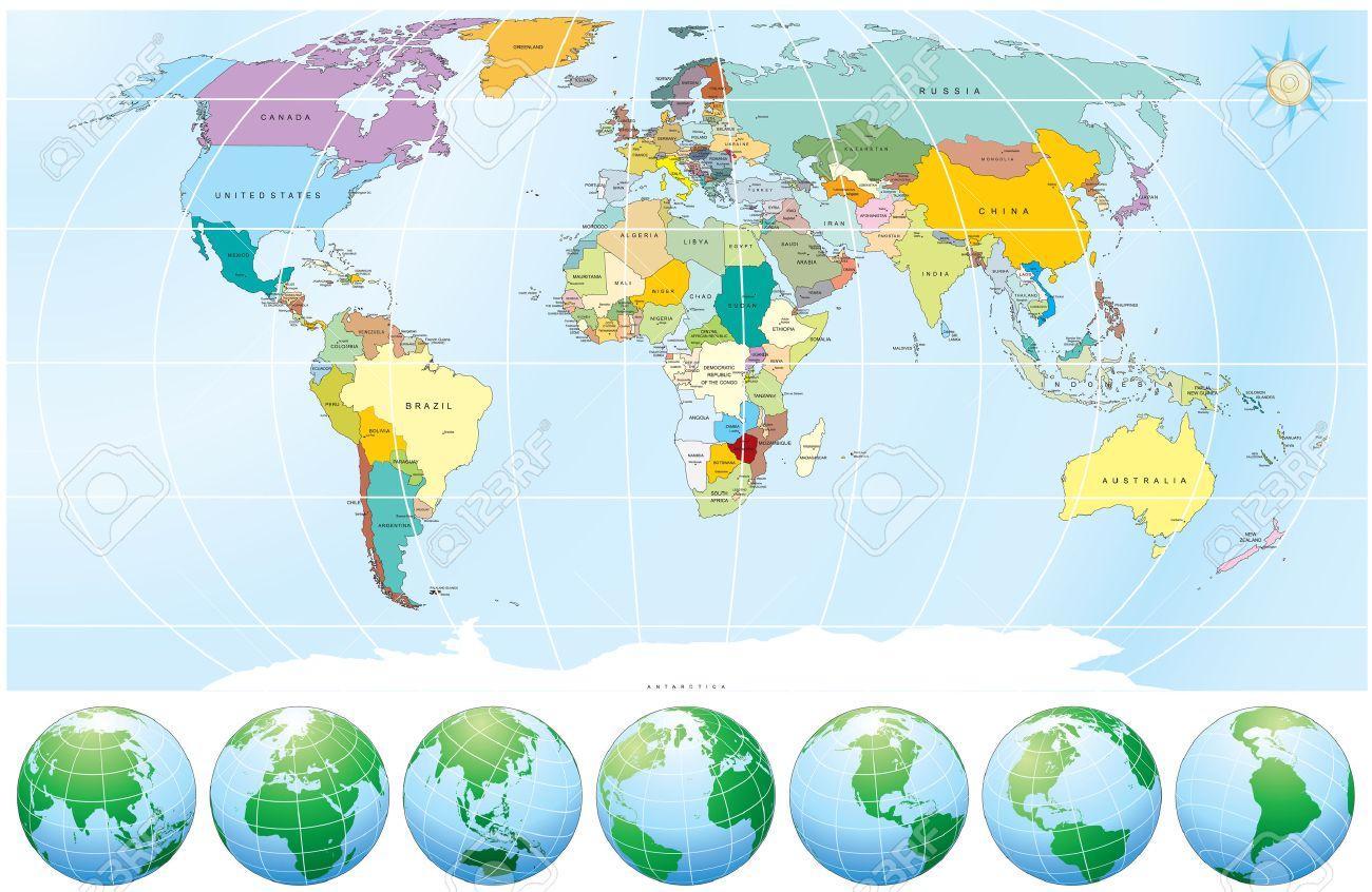 Détaillées De La Carte Du Monde Avec Tous Les Noms De Pays Et  Capitales--Objets Dessinés Individuels, Des Couleurs Modifiables Faciles concernant Carte Du Monde Avec Capitale