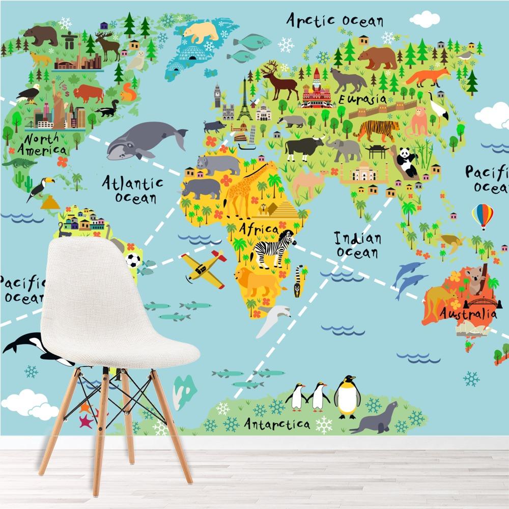 Détails Sur Carte Du Monde Des Animaux Papier Peint Photo Enfants Papier  Peint Chambre Des serapportantà Carte Du Monde Enfant