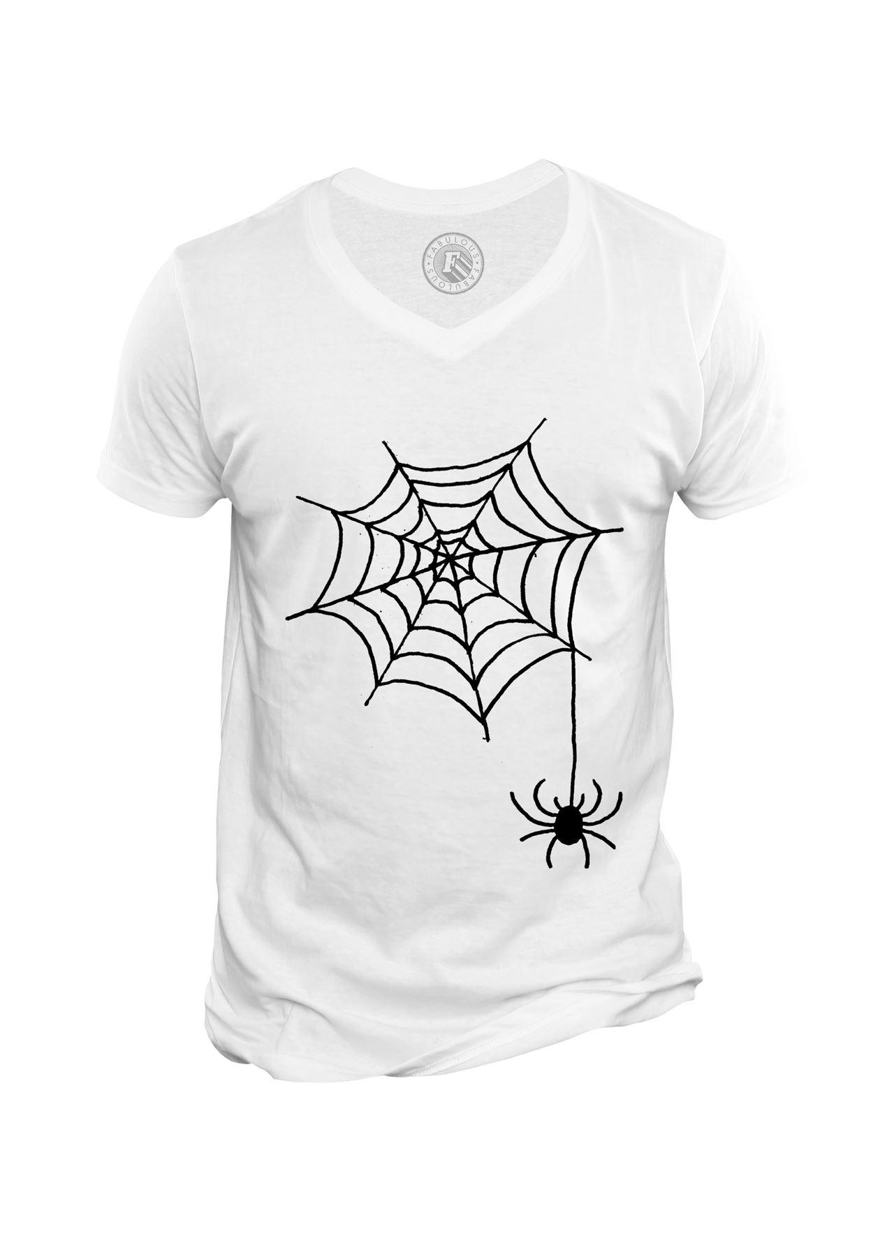 Détails Sur T-Shirt Homme Col V Halloween Araignee Toile Dessin dedans Dessin Toile Araignée