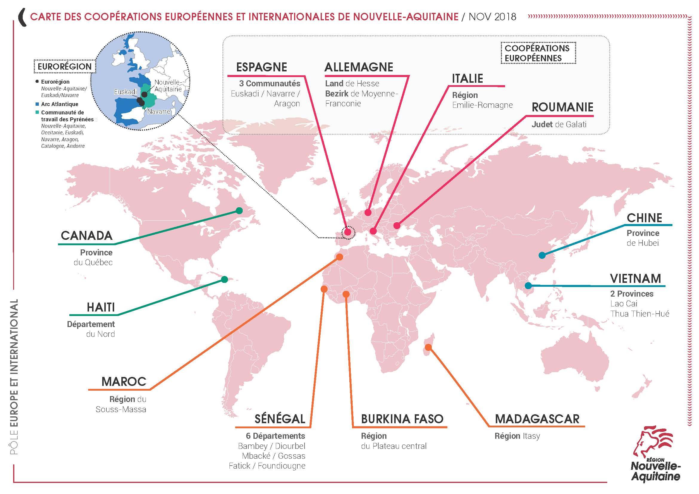 Développement Coopérations Internationales - Nouvelle Aquitaine pour Carte Nouvelle Region
