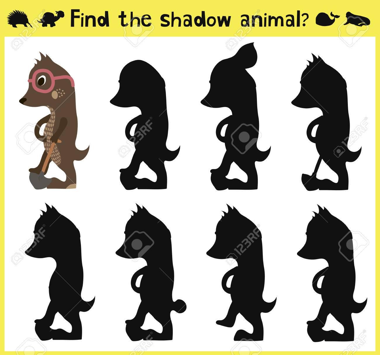 Développer Un Jeu D'enfants Pour Trouver Une Ombre Appropriée De L'animal  La Taupe. Vector Illustration pour Jeu De La Taupe