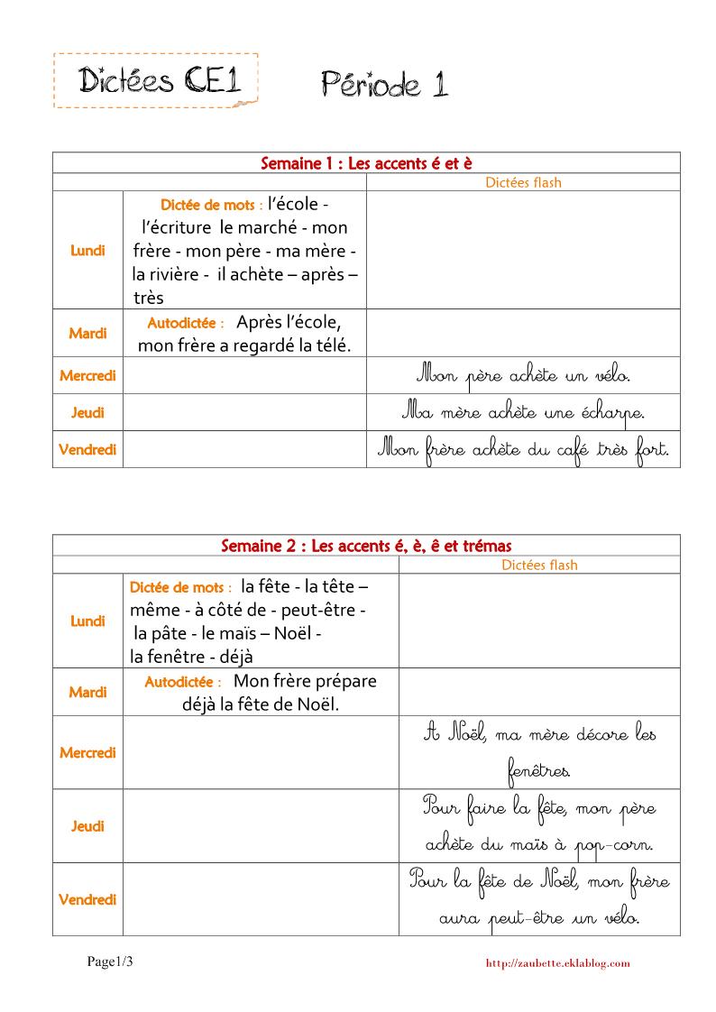 Dictées Ce1 - Zaubette concernant Cours Ce1 Gratuit A Imprimer