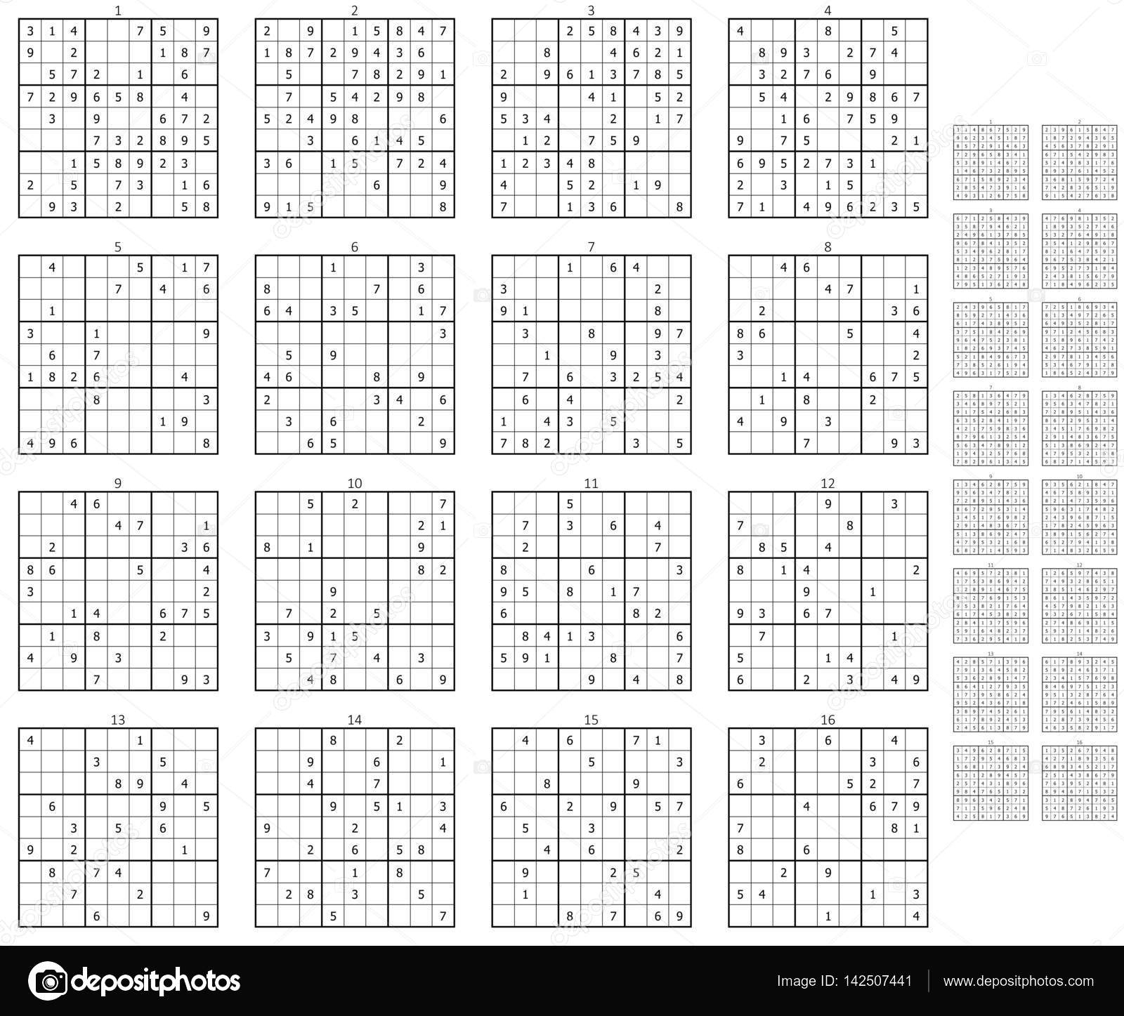 Different Sudokus With Solutions — Stock Photo © Magann pour Sudoku Gs