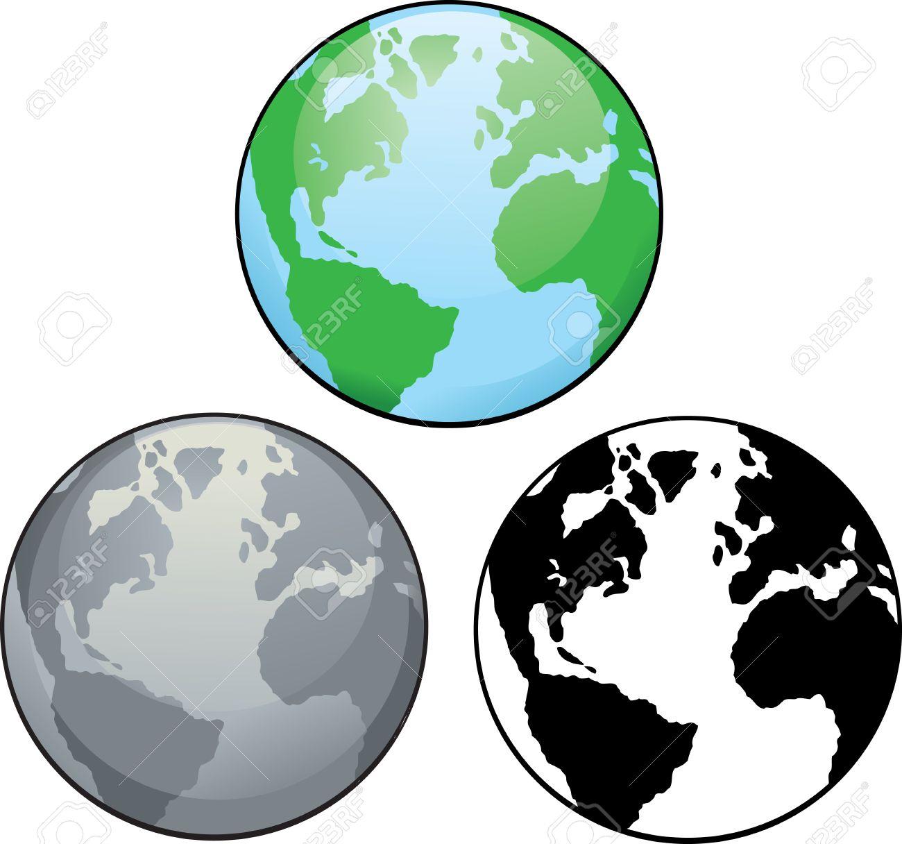 Différents Dessins De La Planète Terre, De La Couleur En Noir Et Blanc. avec Image De La Terre Dessin