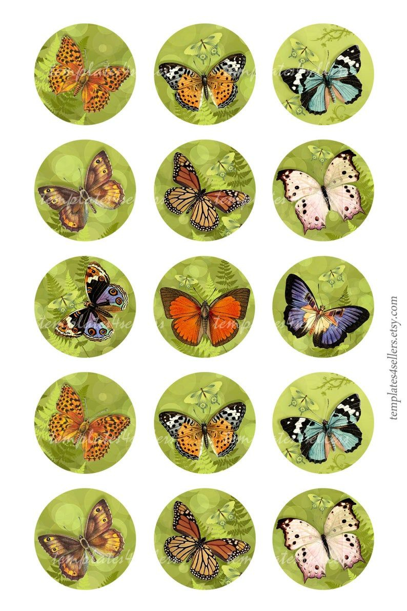 Digital Collage Feuille Summer Papillons 1 Pouce Rond destiné Etiquette Papillon A Imprimer