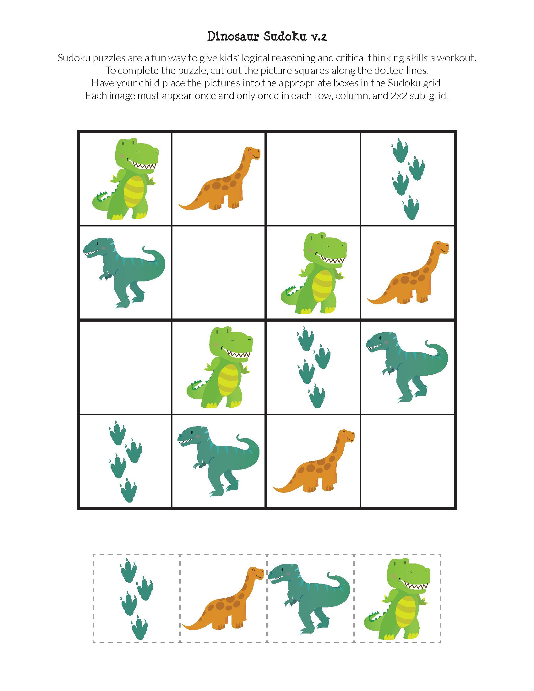 Dinosaur Sudoku Puzzles {Free Printables} | Do A Dot tout Sudoku Junior À Imprimer