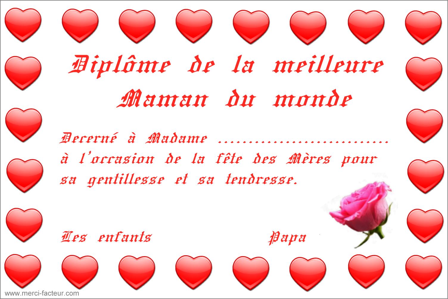 Diplôme À Imprimer Pour La Fête Des Mères - Merci Facteur pour Carte Bonne Fete Maman Imprimer