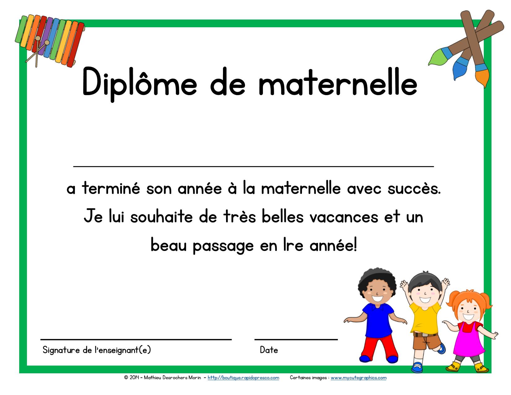 Diplôme Du Préscolaire (Maternelle) | Diplôme De Maternelle avec Cahier De Vacances Moyenne Section A Imprimer
