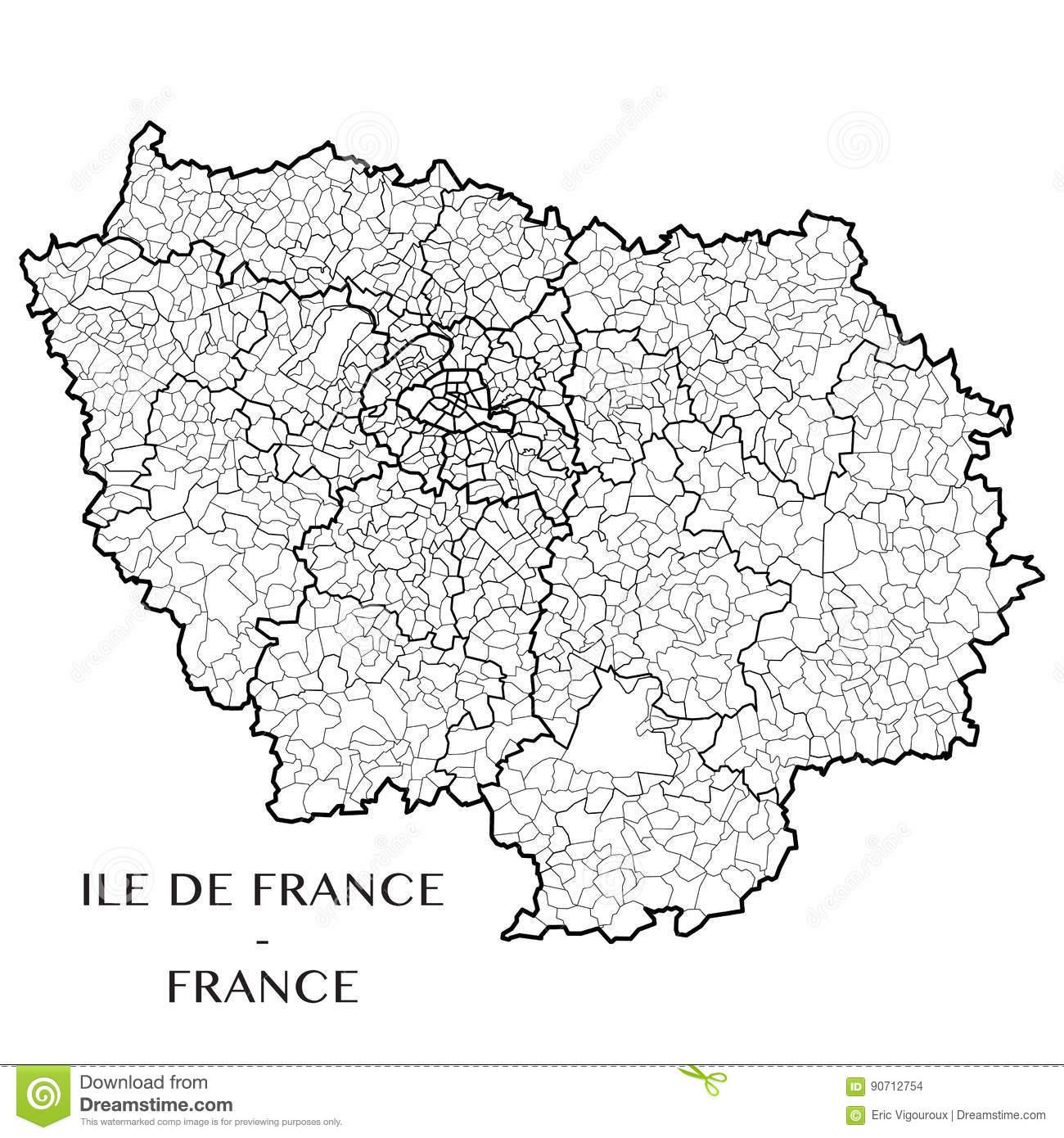 Dirigez La Carte De L'ile-De-France De Région, France intérieur Carte De France Detaillée Gratuite