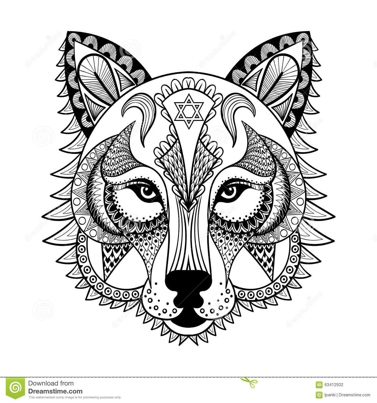 Dirigez Le Loup Ornemental, Mascotte Zentangled Ethnique concernant Masque De Loup À Imprimer
