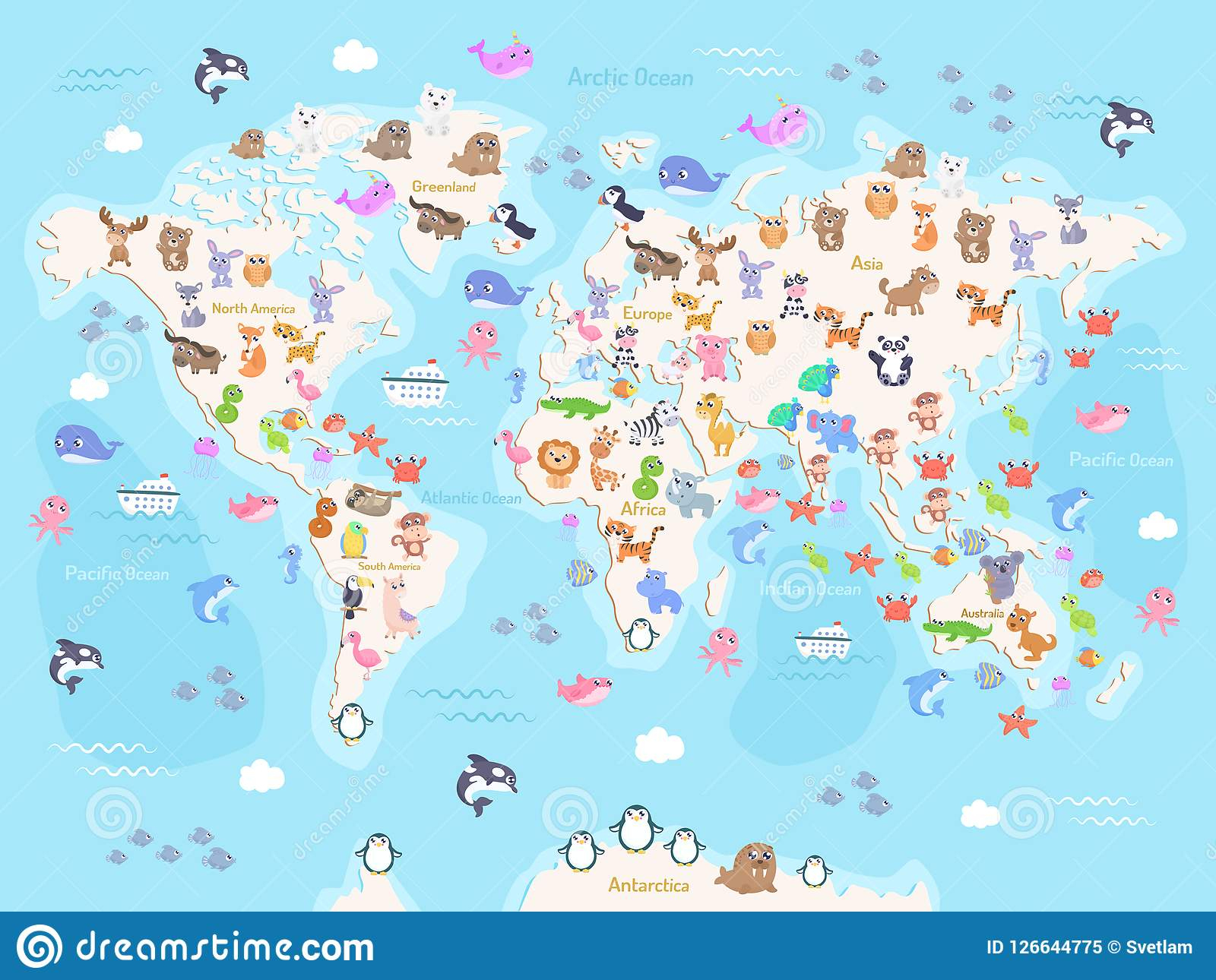 Dirigez L'illustration De La Carte Du Monde Avec Des Animaux à Carte Europe Enfant