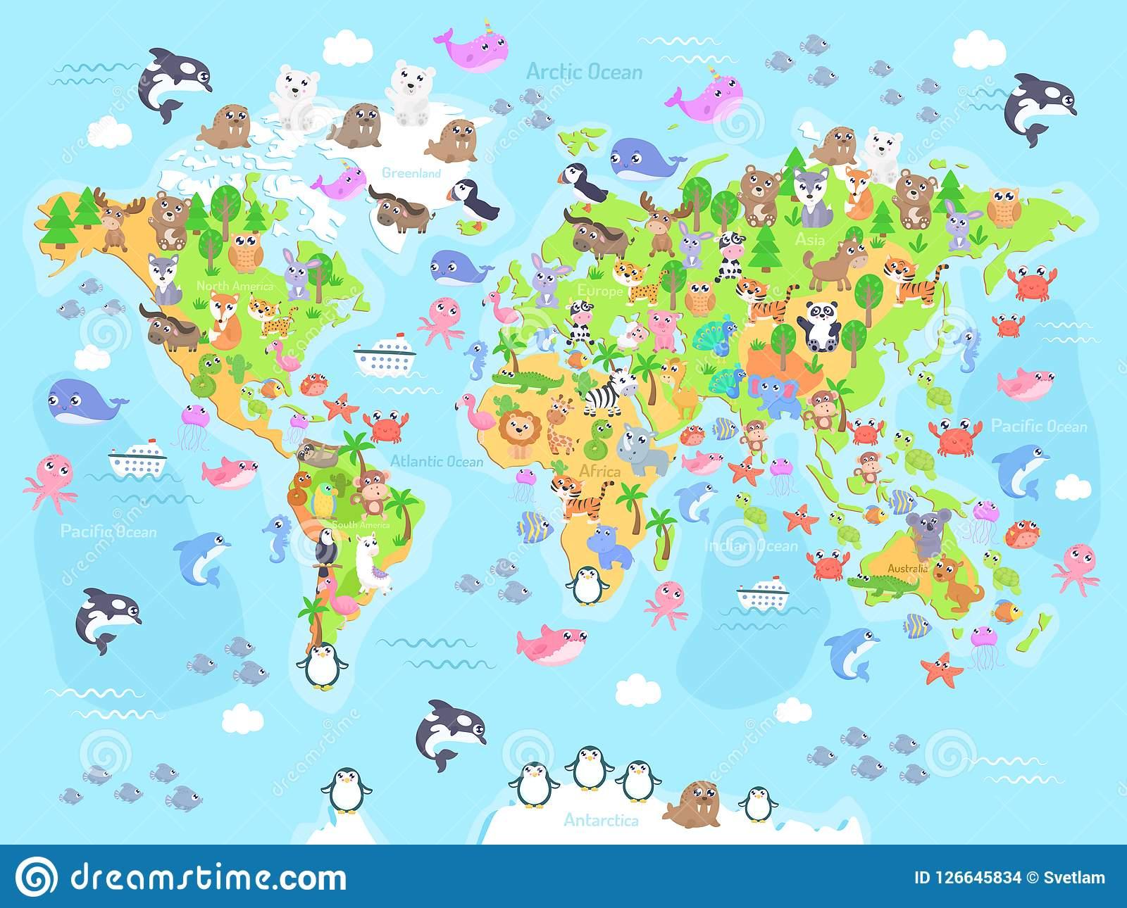 Dirigez L'illustration De La Carte Du Monde Avec Des Animaux avec Carte Europe Enfant