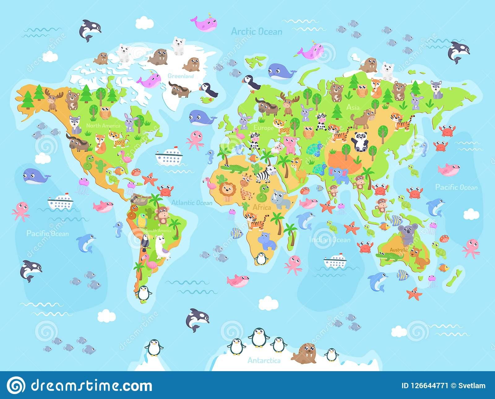 Dirigez L'illustration De La Carte Du Monde Avec Des Animaux destiné Carte Du Monde Pour Enfant