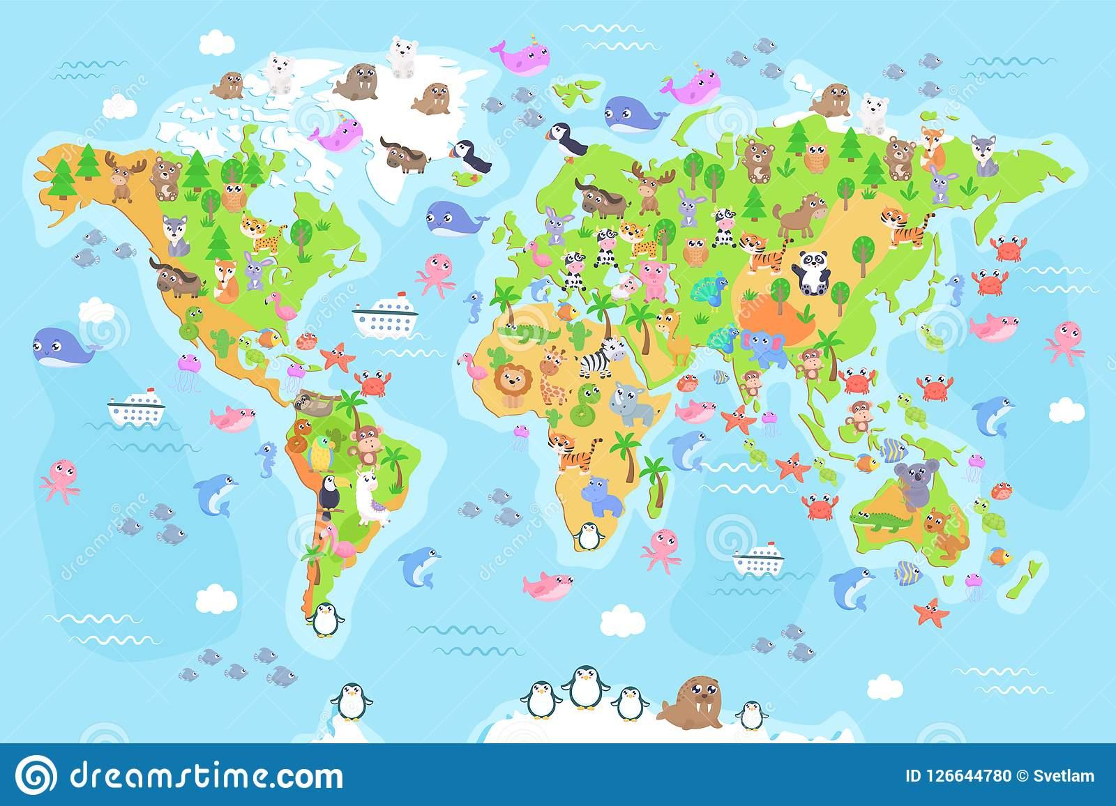 Dirigez L'illustration De La Carte Du Monde Avec Des Animaux encequiconcerne Carte Du Monde Pour Enfant