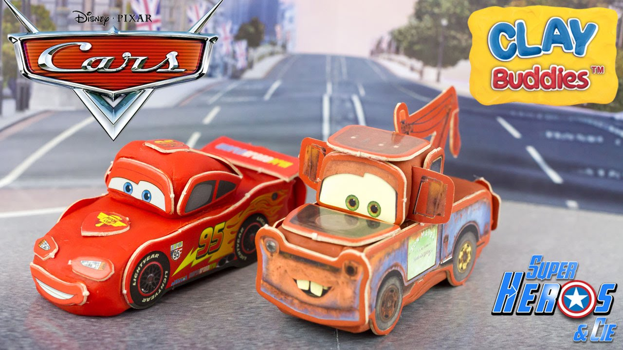 Disney Cars Play Doh Lightning Mcqueen Mater Clay Buddies 4K Toy Review  Unboxing destiné Flash Mcqueen Martin