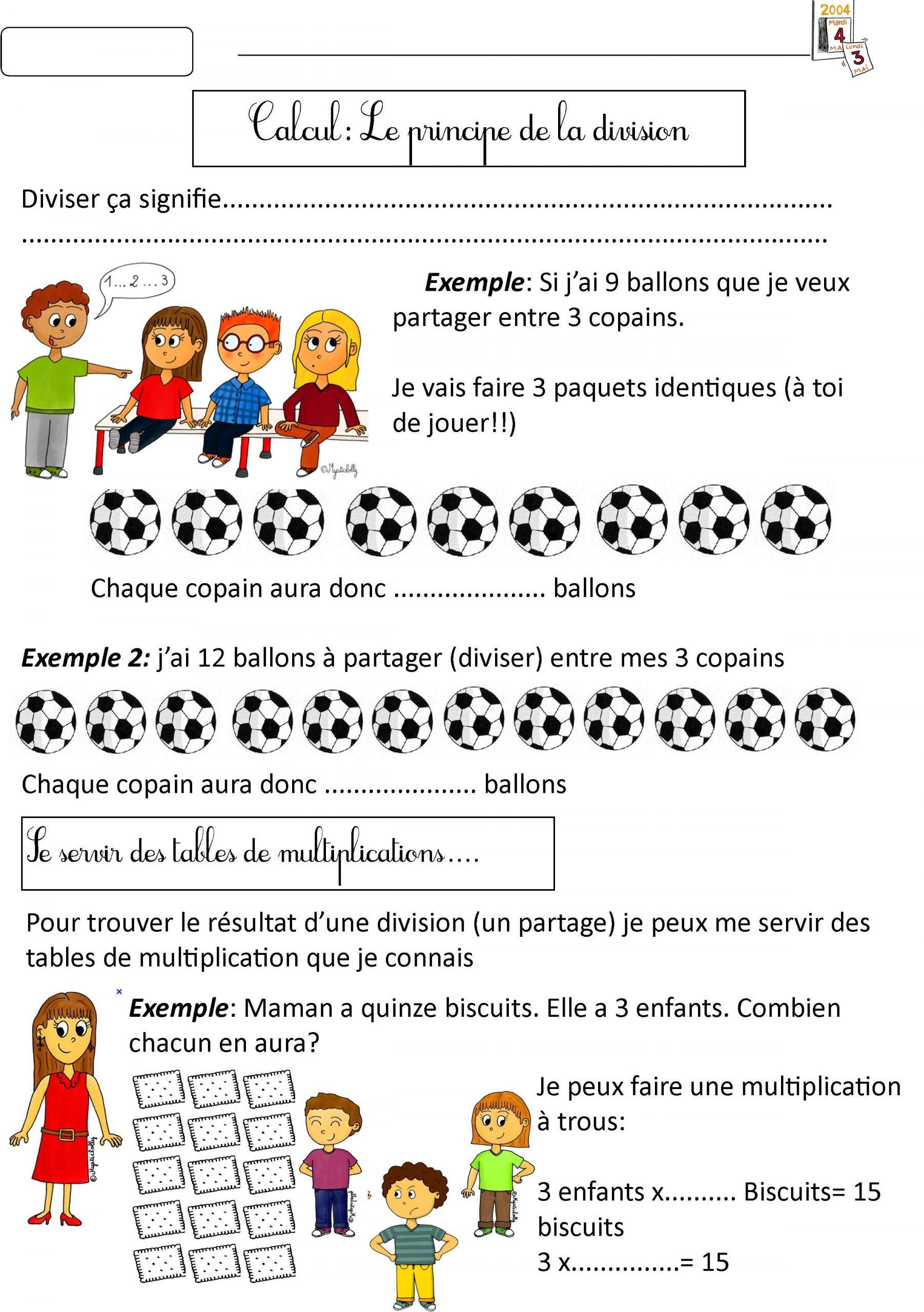 Division Leçon 1 | Ce1 Ce2, Division Ce2, Calcul Ce1 dedans Cours Ce2 A Imprimer