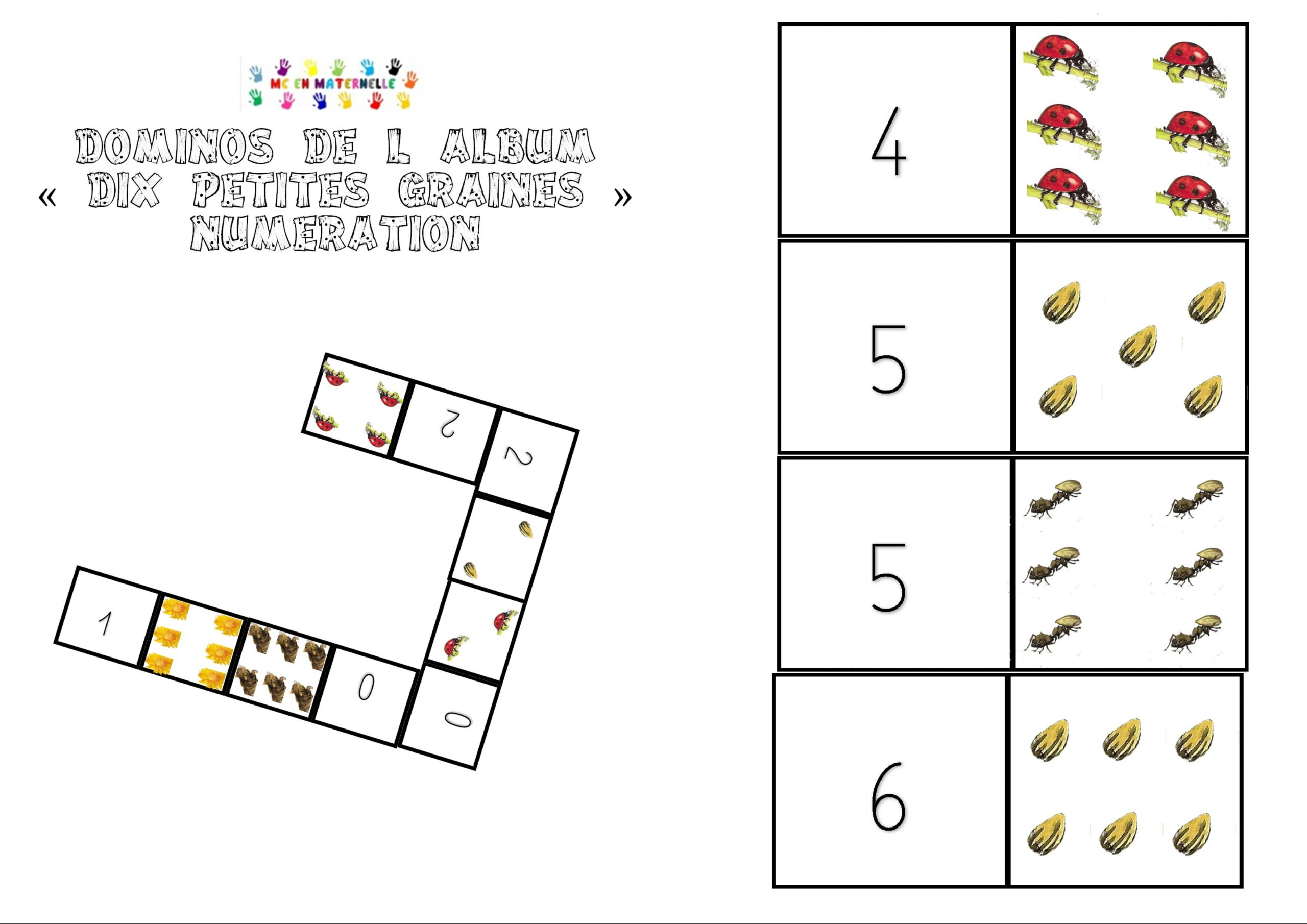 Dix Petites Graines : Dominos Numération – Mc En Maternelle serapportantà Dominos À Imprimer