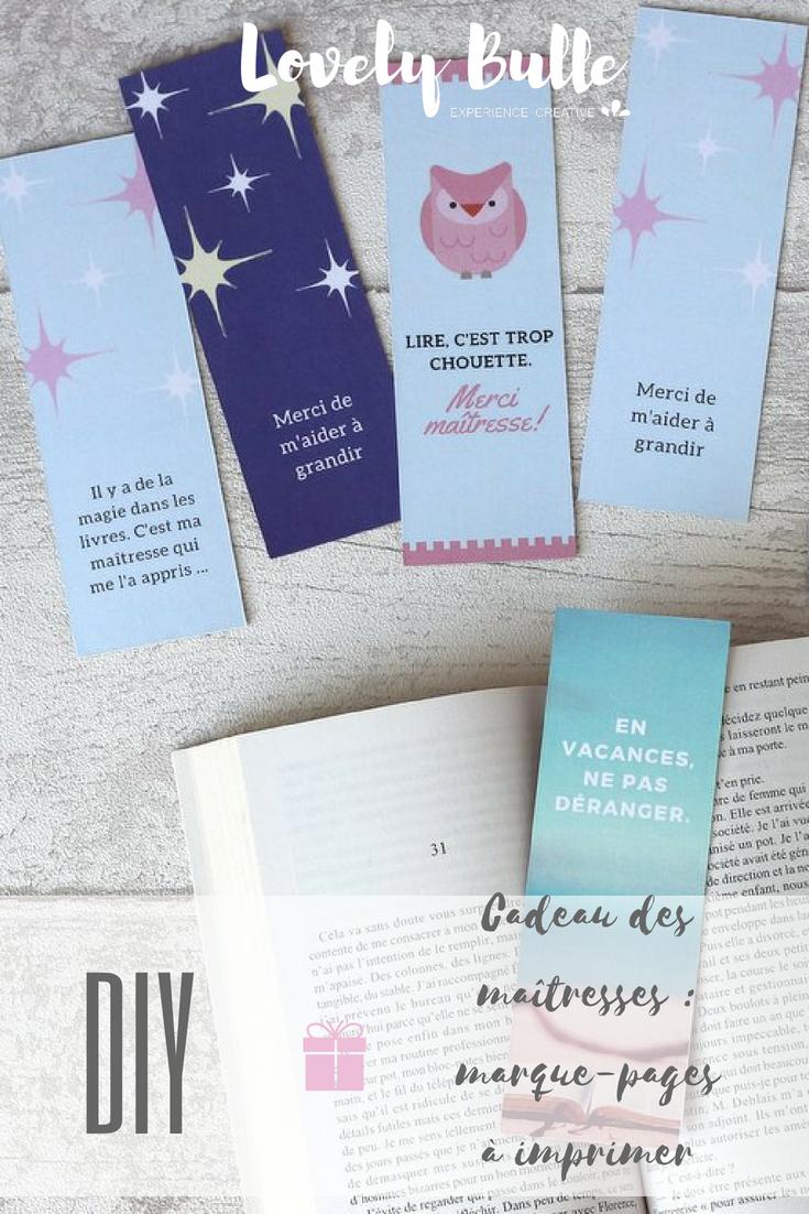 Diy} Cadeau Maitresse Marque Page À Imprimer - Lovely Bulle dedans Marque Page Gratuit À Imprimer