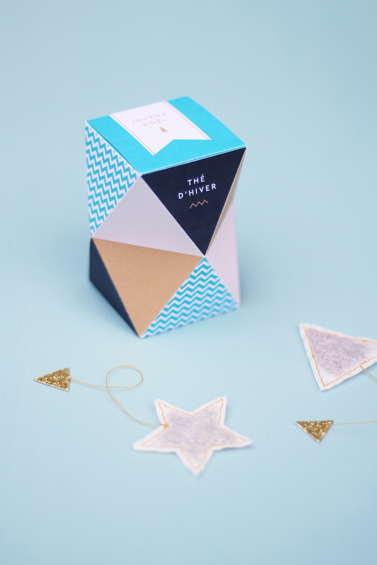 Diy De Noël : Une Boite De Thé Géométrique À Offrir tout Boite De Noel A Imprimer