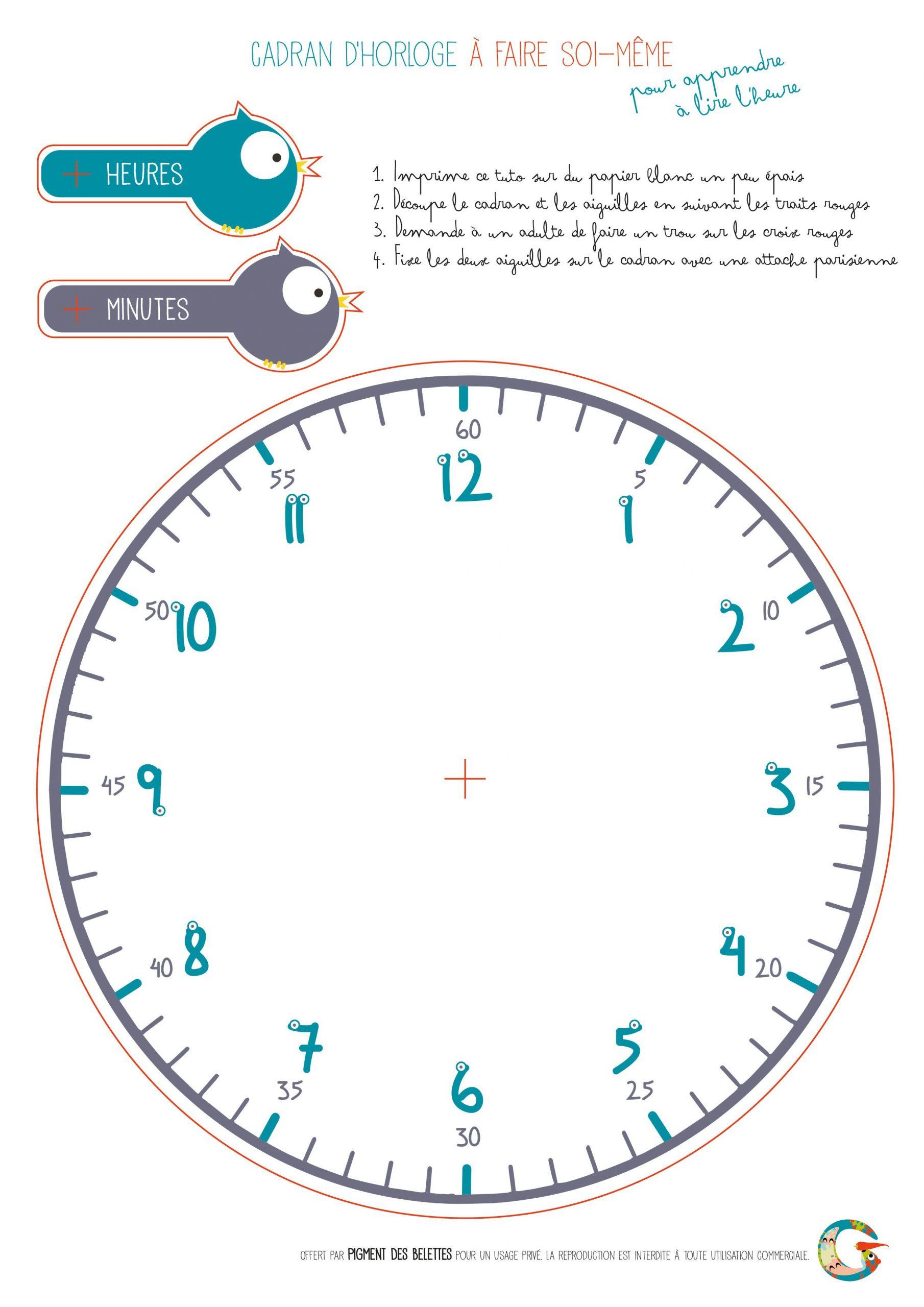 Diy Horloge À Télécharger Et Imprimer Pour Apprendre À Lire encequiconcerne Activité Primaire A Imprimer