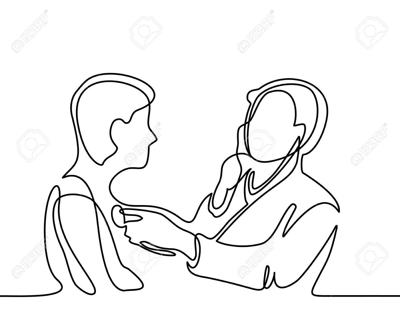 Docteur Avec Stéthoscope Traiter Un Homme Patient. Dessin Au Trait Continu.  Illustration Vectorielle Sur Fond Blanc dedans Dessin Stéthoscope