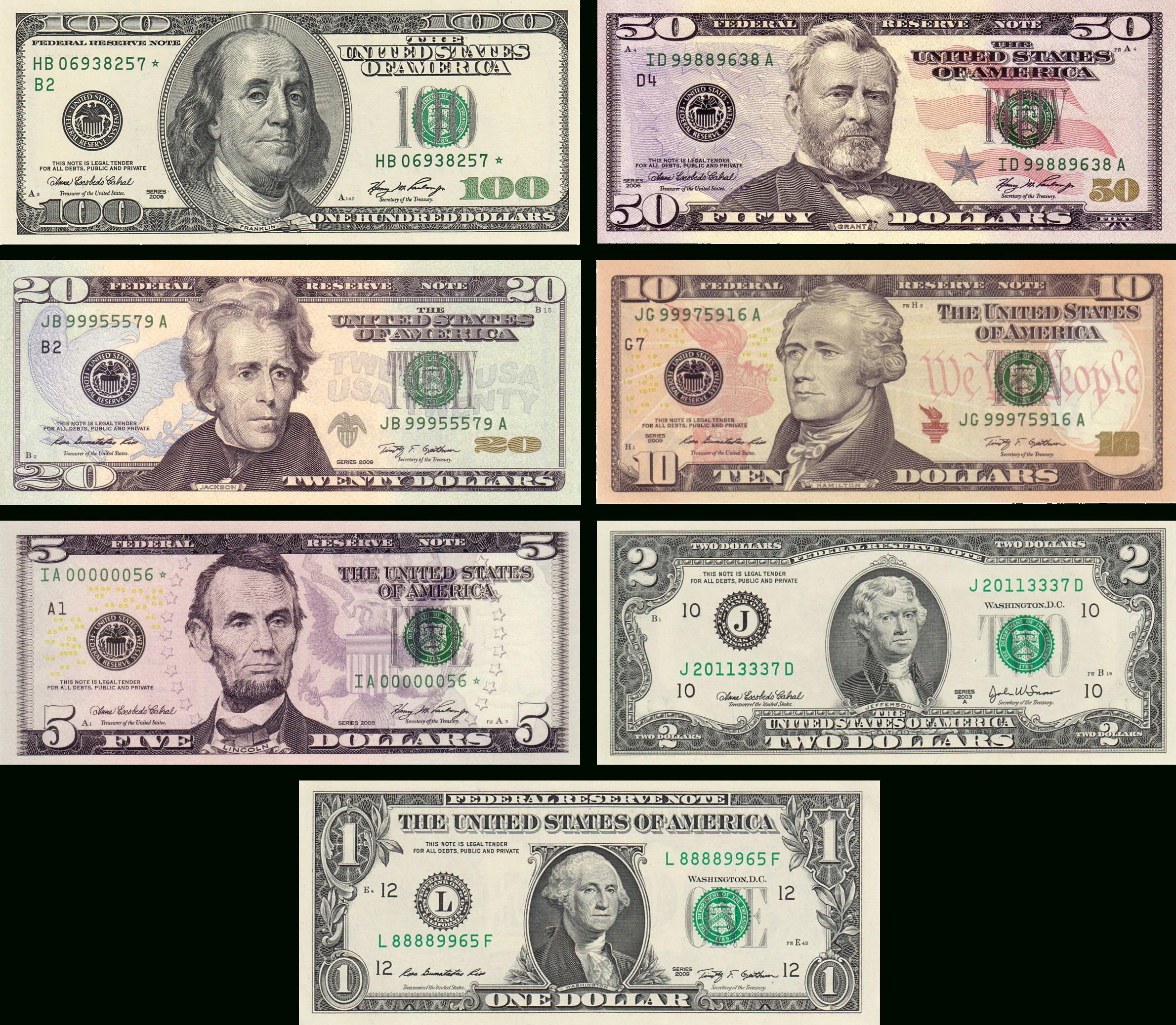 Dollar Américain — Wikipédia pour Billets Et Pièces En Euros À Imprimer