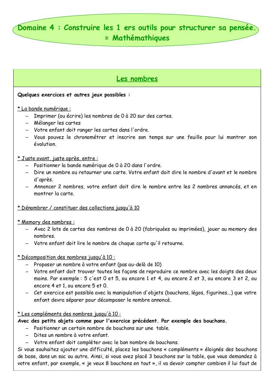 Domaine 4 Maths Par Emilie Blanchard - Fichier Pdf pour Jeux Mathématiques À Imprimer