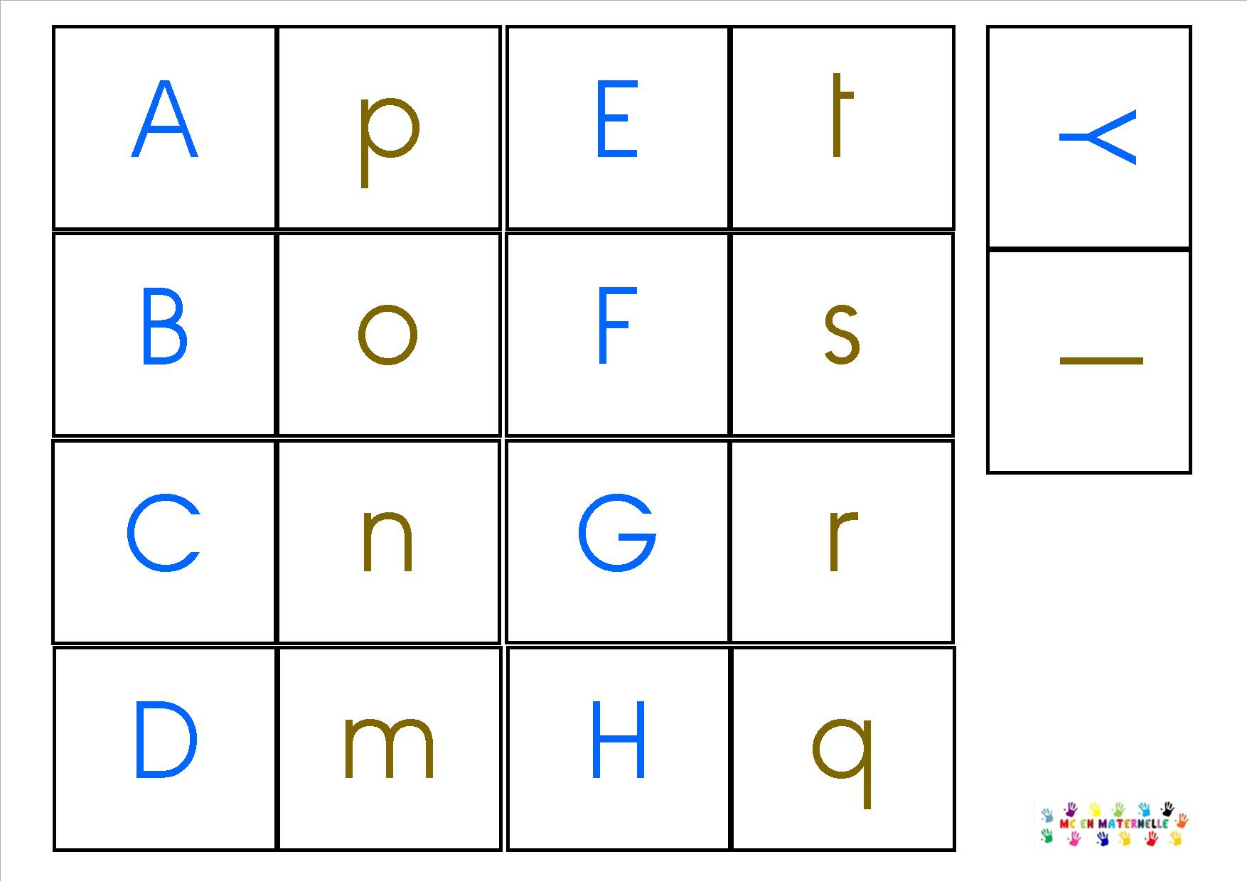 Domino Des Lettres Majuscule/minuscule – Mc En Maternelle encequiconcerne Lettres Majuscules À Imprimer