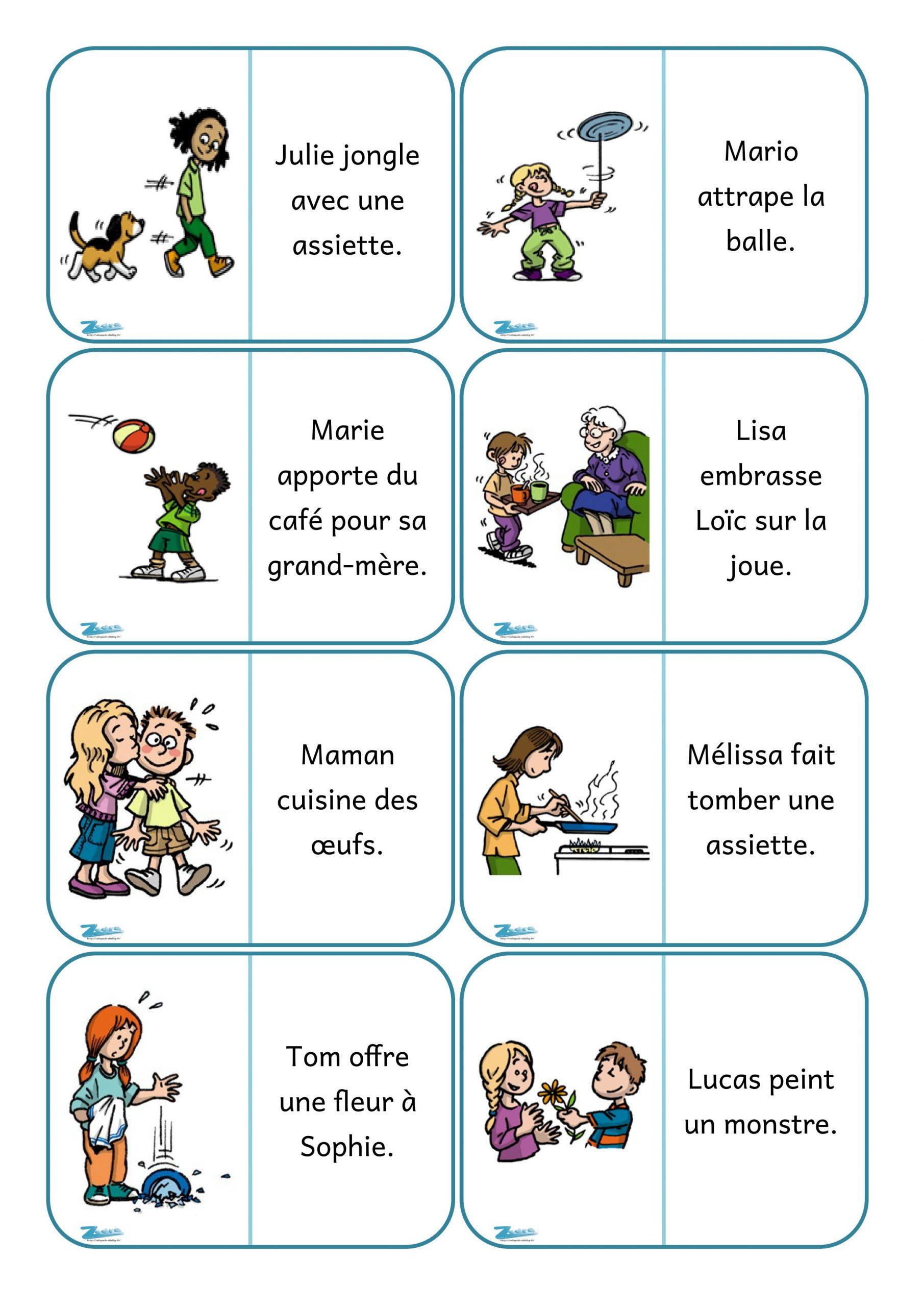 Dominos De Lecture De Phrases. - Zedra - Dans Ma Valise destiné Dominos À Imprimer