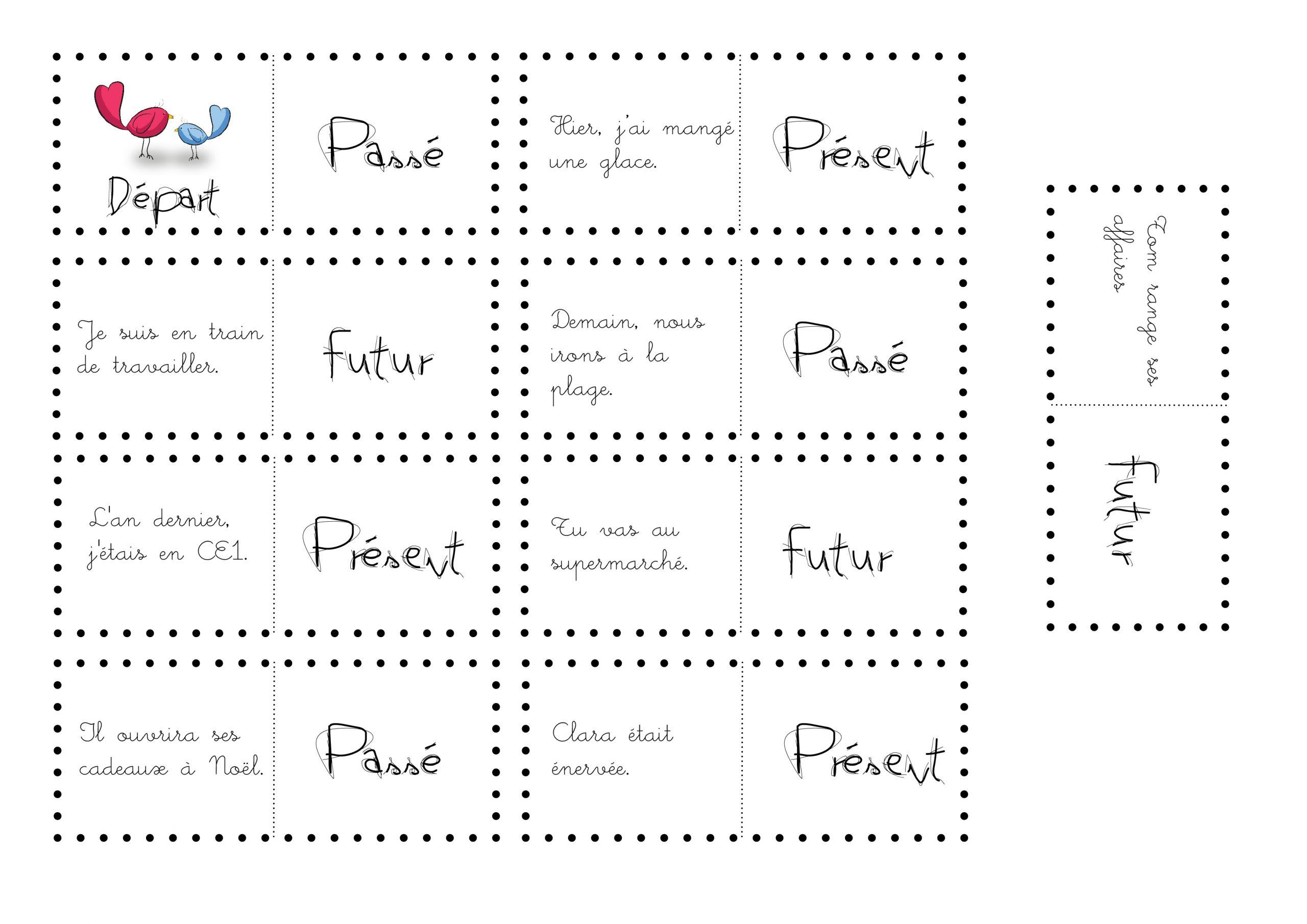 Dominos Passé, Présent, Futur - La Classe De Calliplume encequiconcerne Dominos À Imprimer