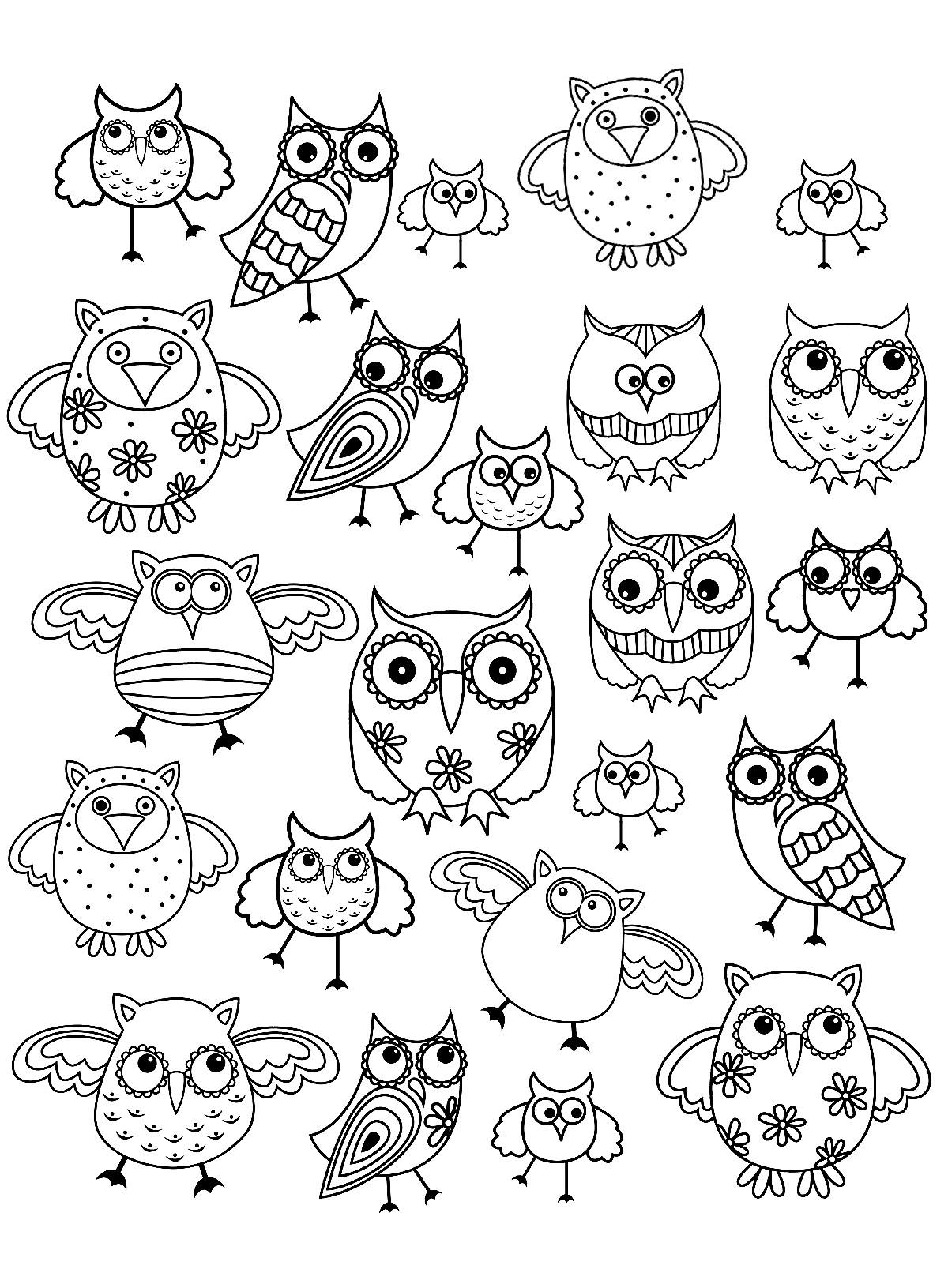Doodle Simple Hibou - Coloriage Doodle Art - Coloriages Pour pour Dessin Hibou Facile