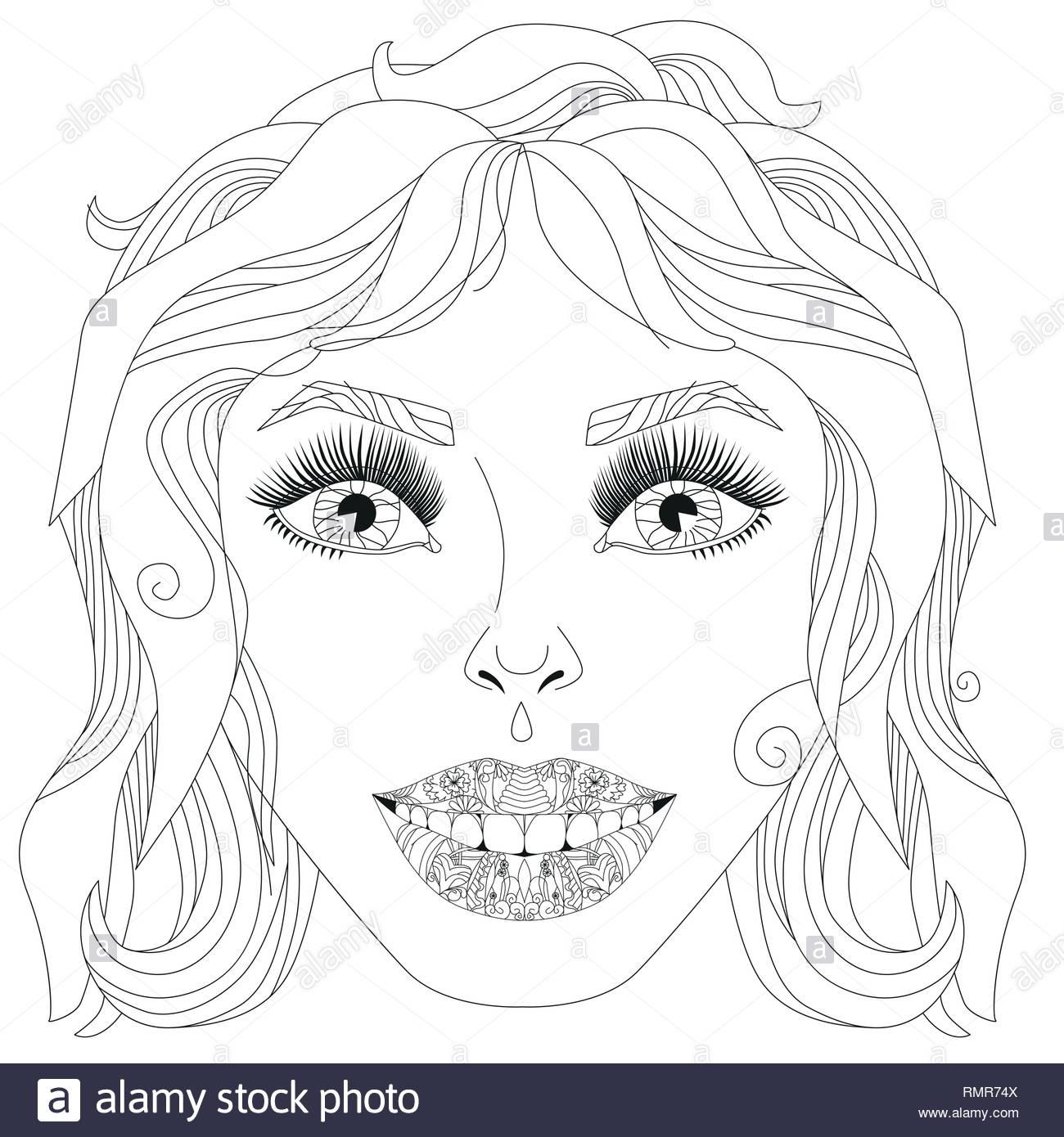 Doodle Visage De Filles. Portrait De Femmes Adultes Pour serapportantà Visage À Colorier