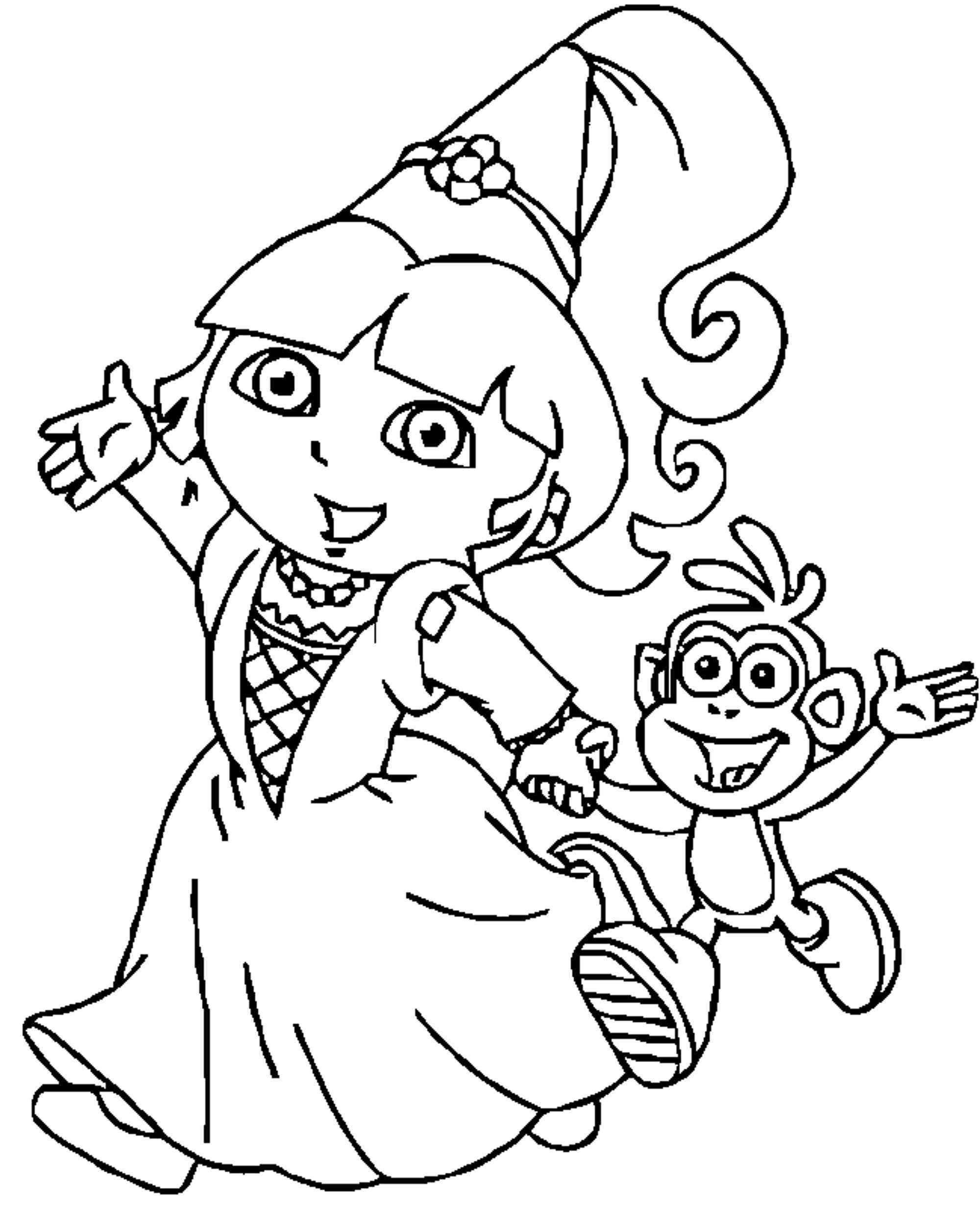 Dora Princess Printable Coloring Pages – From The Thousand intérieur Coloriage Dora Princesse
