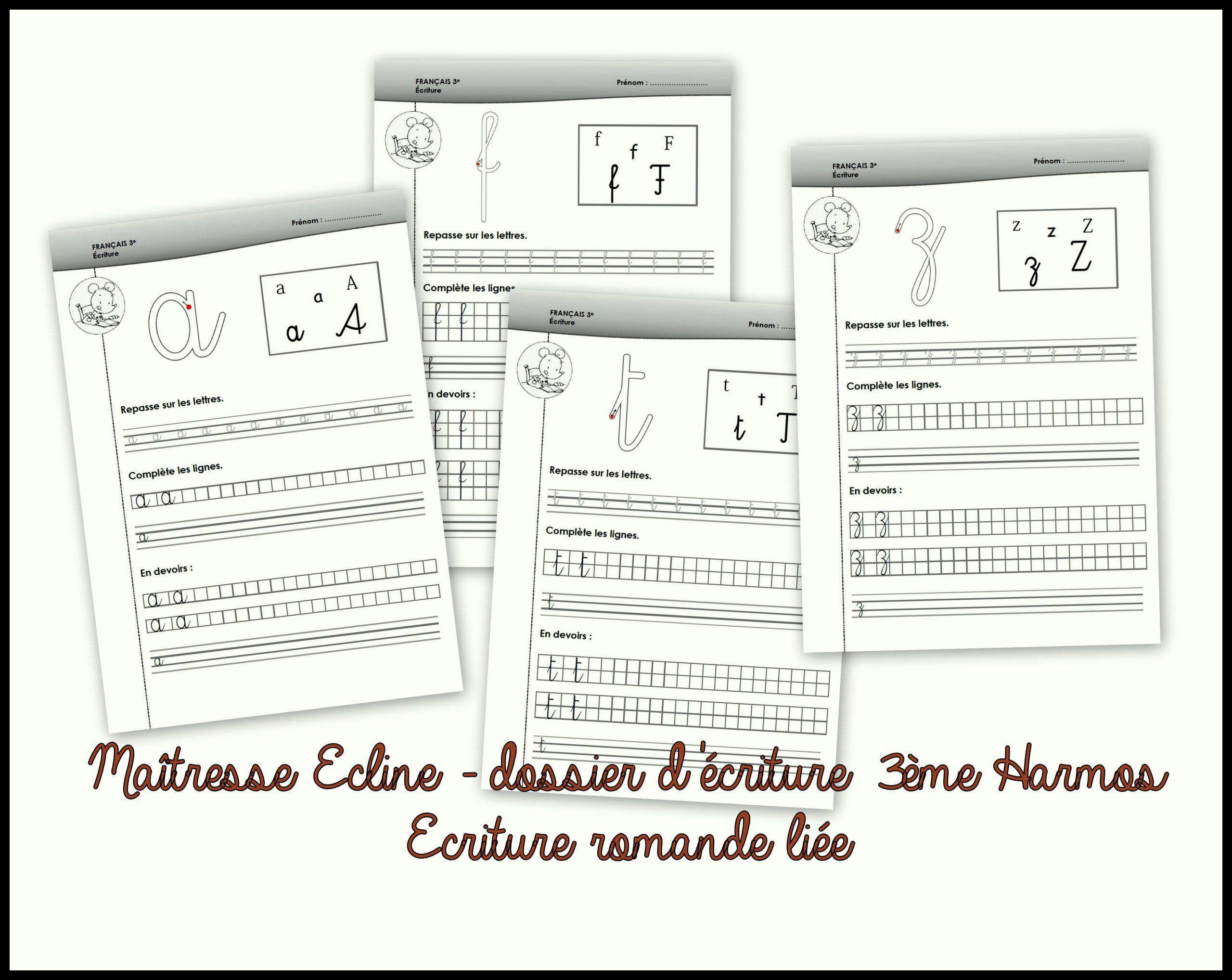 Dossier D'écriture - 3Ème Harmos - Chez Maîtresse Ecline dedans Alphabet Français Écriture