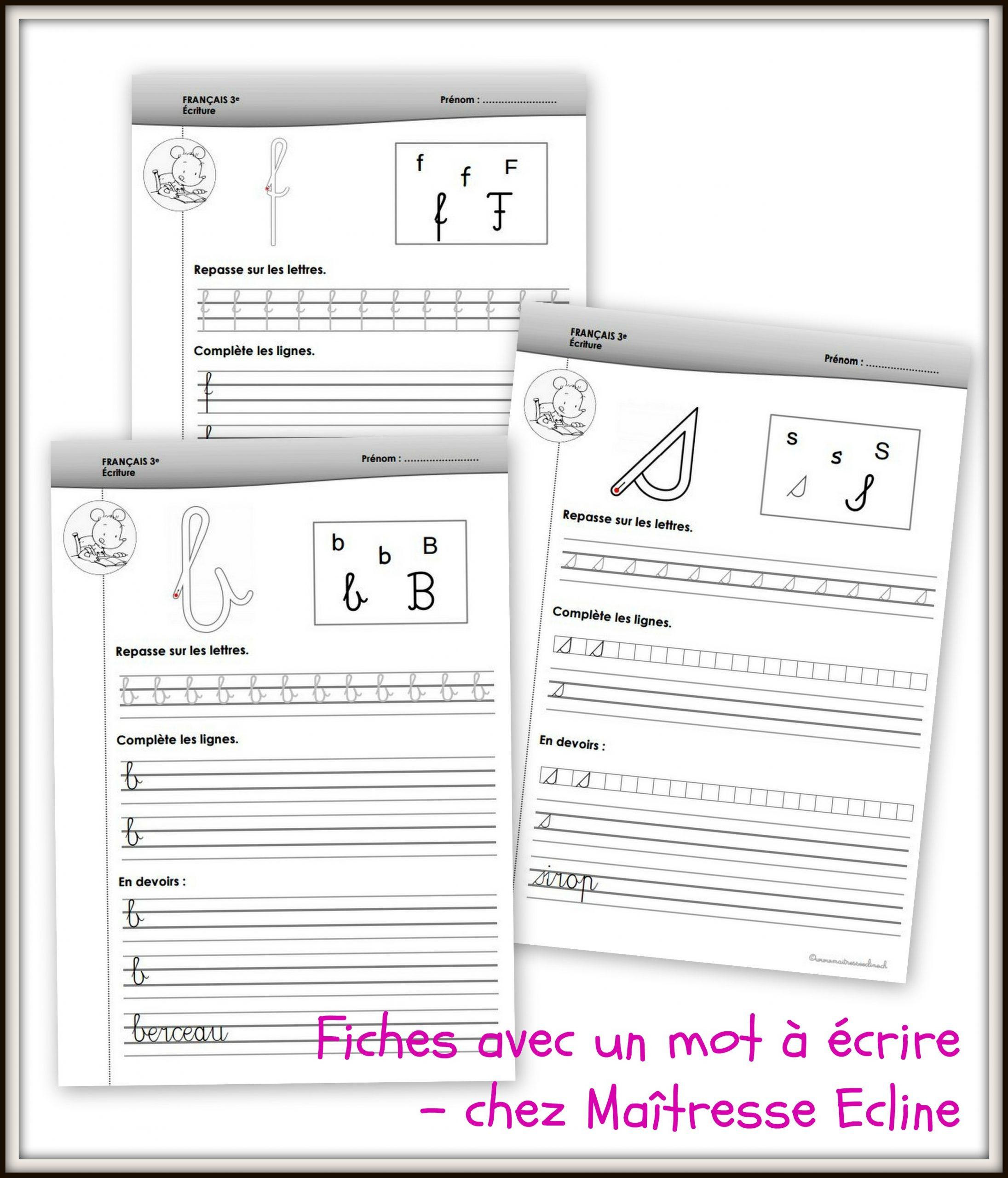 Dossier D'écriture - 3Ème Harmos - Chez Maîtresse Ecline intérieur Cahier D Écriture Cp À Imprimer