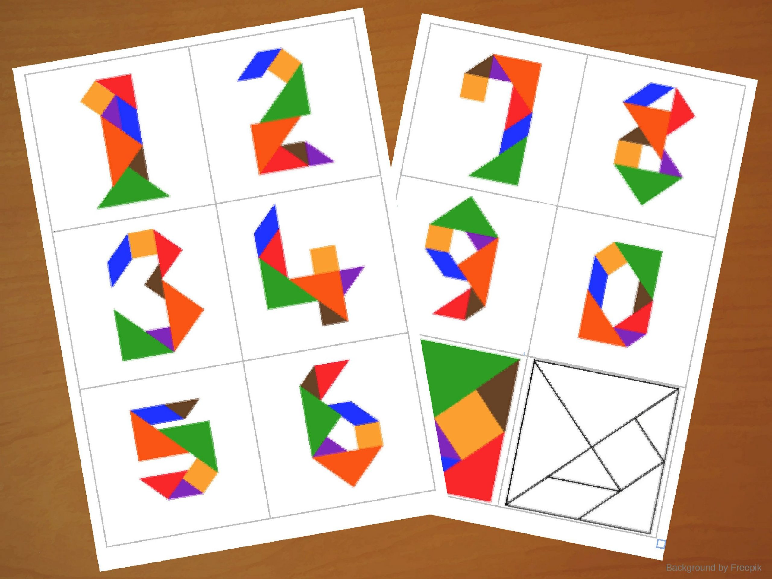 Downloadable Tangram Cards - Tangram Numbers - Tangram destiné Tangram Modèles Et Solutions