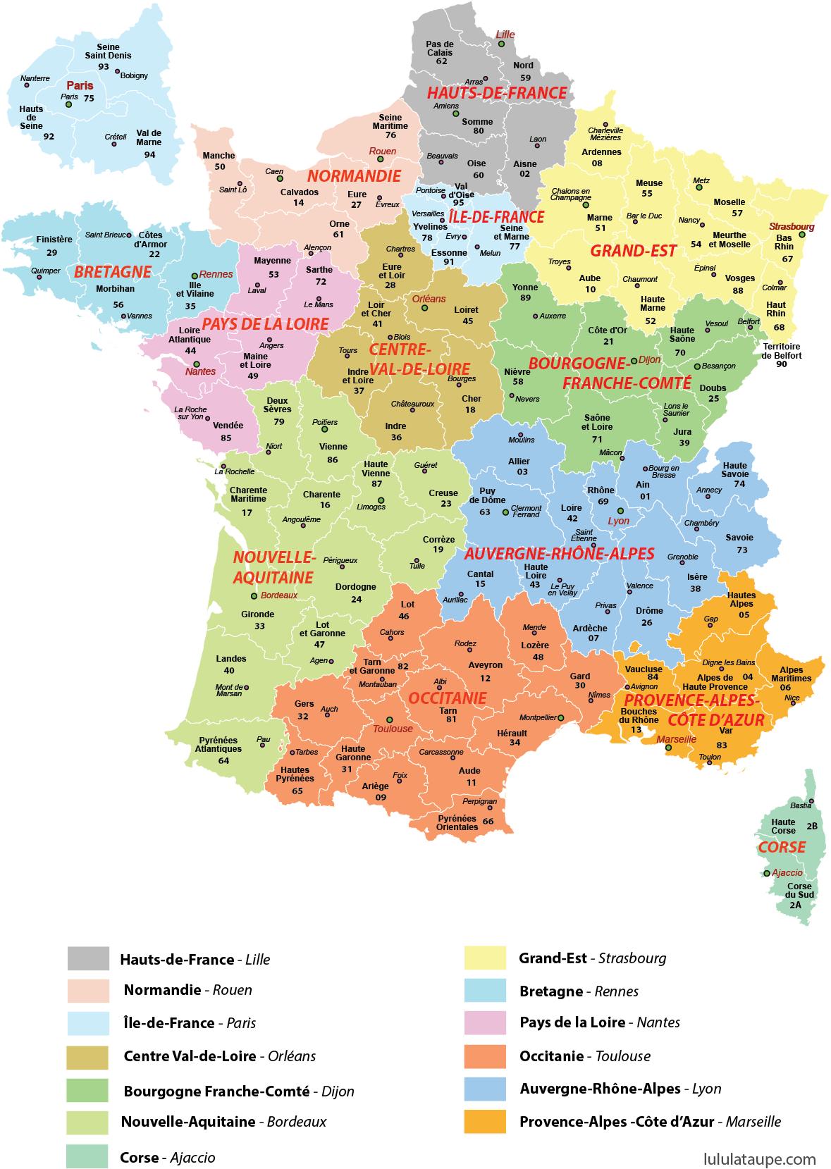 Dpartements #prfectures #imprimer #rgions #france #carte intérieur Mappe De France